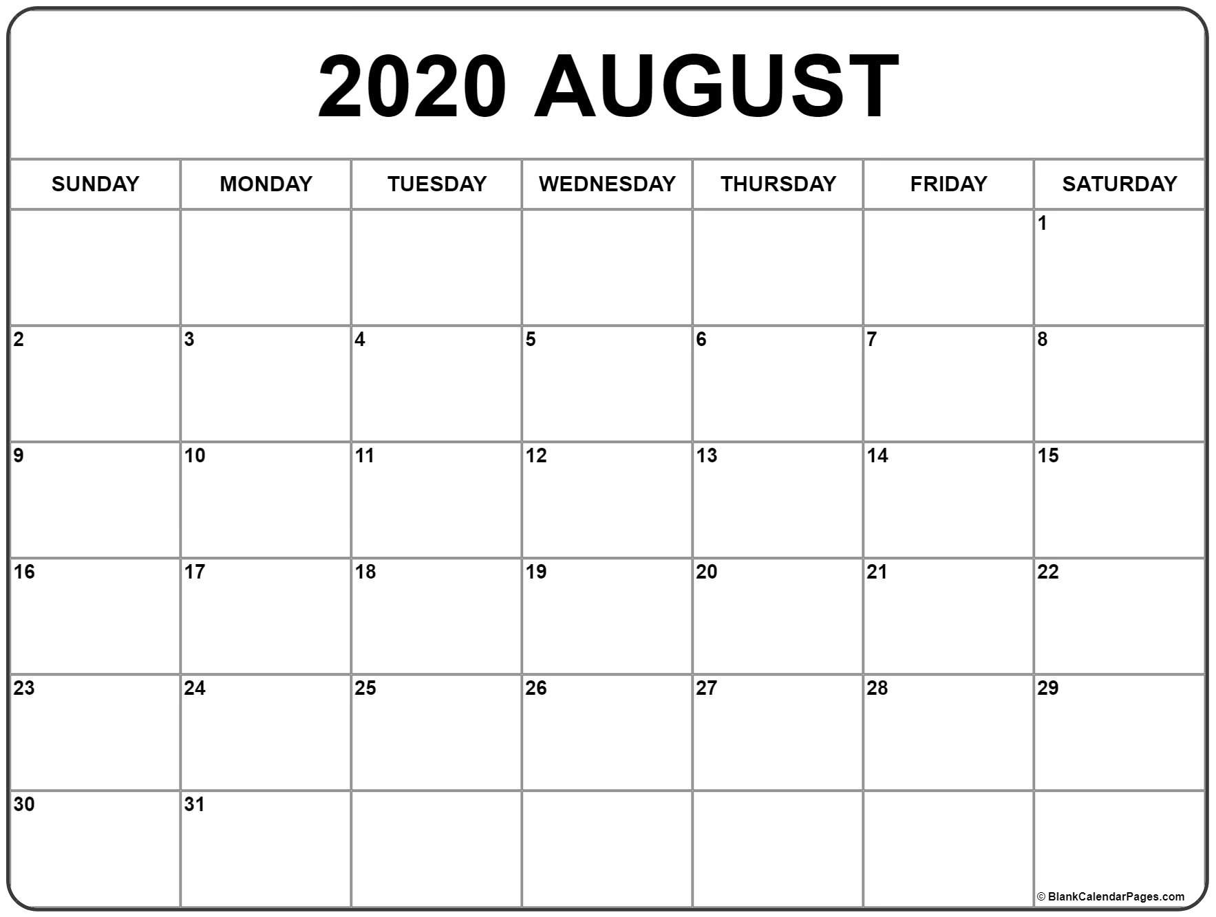 August 2020 Calendar | Free Printable Monthly Calendars  Blank Calendar For August 2020 Printable