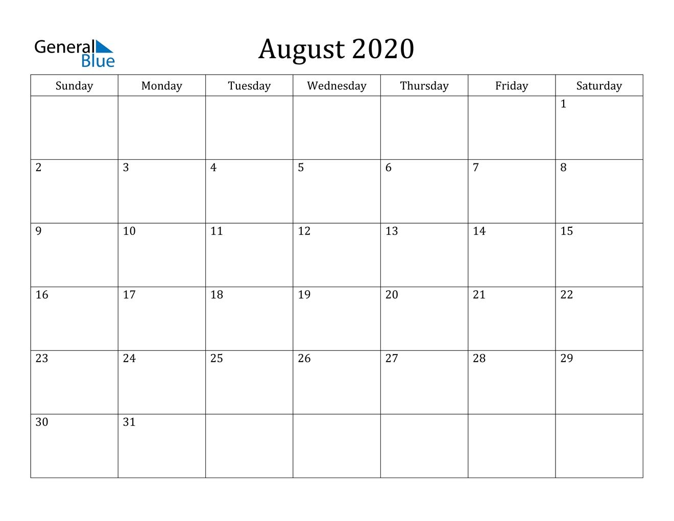 August 2020 Calendar - Pdf Word Excel  August 2020 Calendar