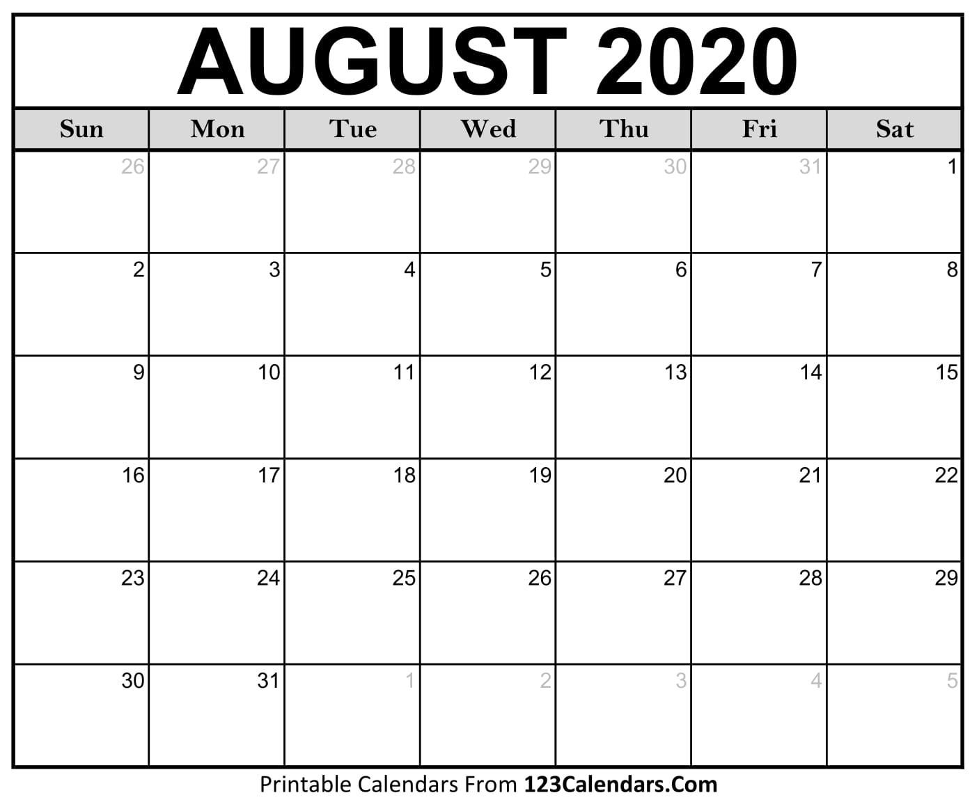 August 2020 Printable Calendar | 123Calendars  Blank Calendar For August 2020 Printable