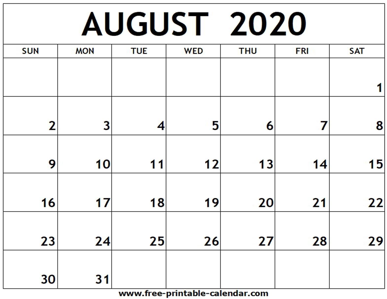 August 2020 Printable Calendar - Free-Printable-Calendar  Blank Calendar For August 2020 Printable