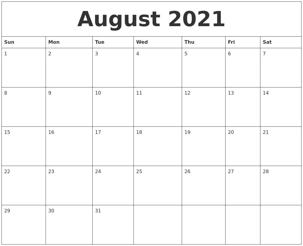 August 2021 Blank Monthly Calendar Template  Blank Monthly Calendar Printable