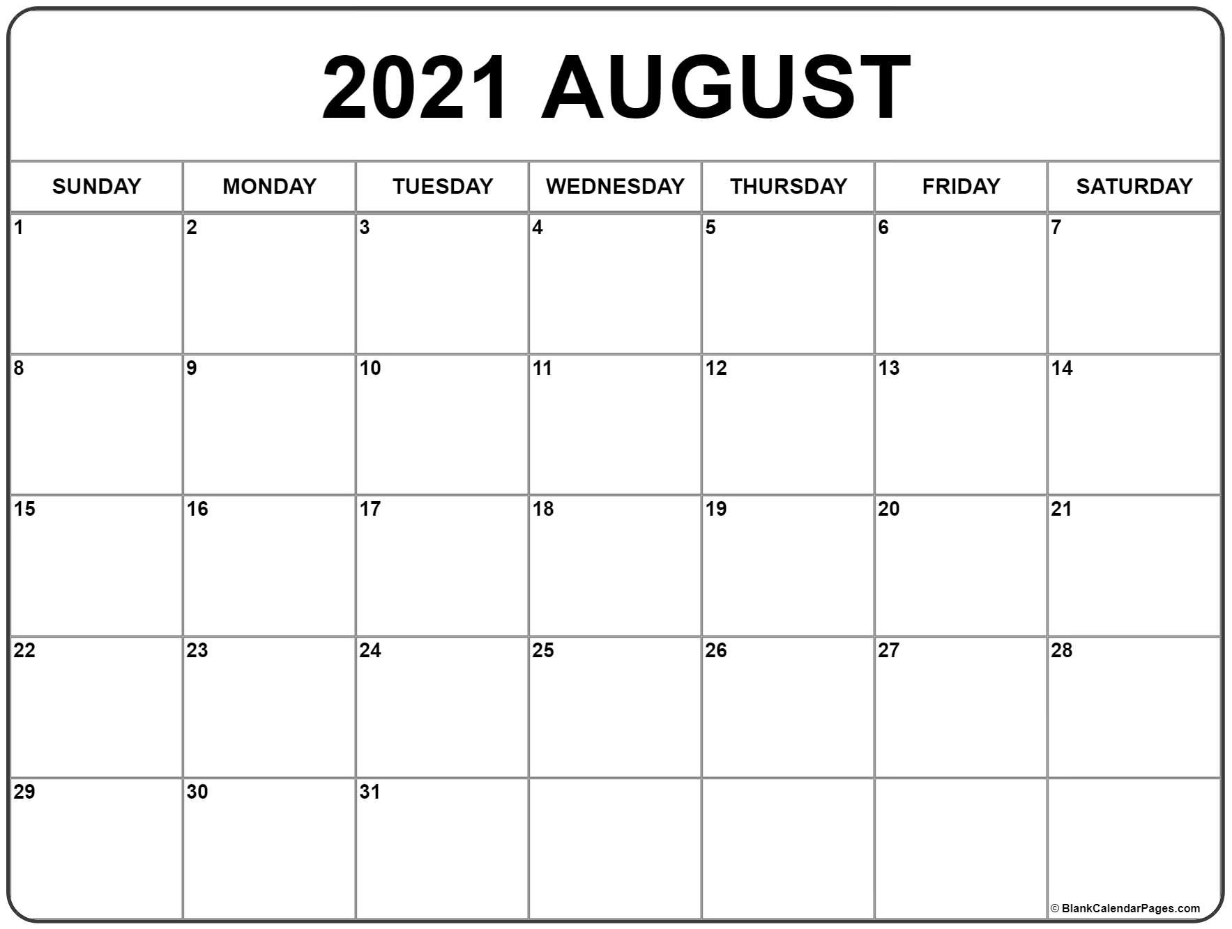 August 2021 Calendar | Free Printable Monthly Calendars  Free Monthly Calendar Template 2021