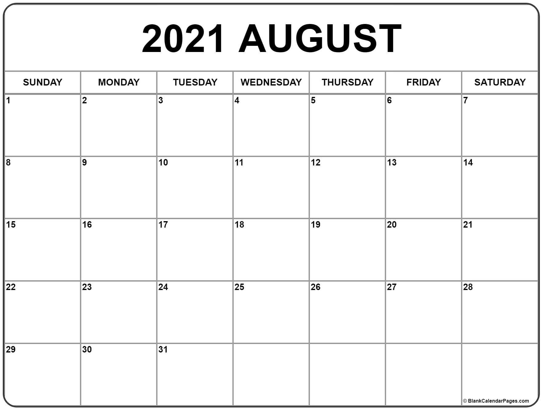 August 2021 Calendar | Free Printable Monthly Calendars  Free Monthly Calendar Template 2021