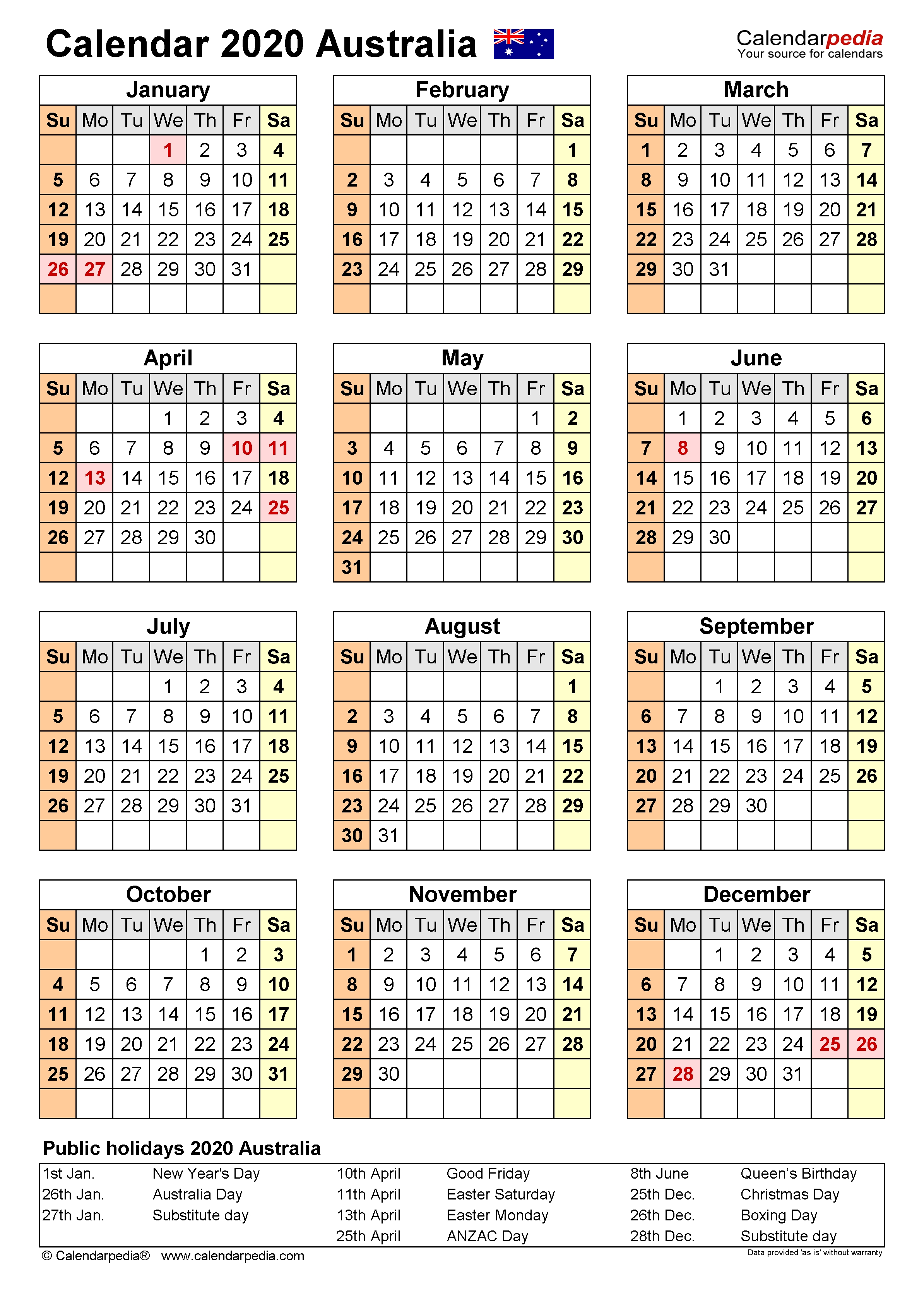 Australia Calendar 2020 - Free Printable Pdf Templates  Financial Year 19 Australia
