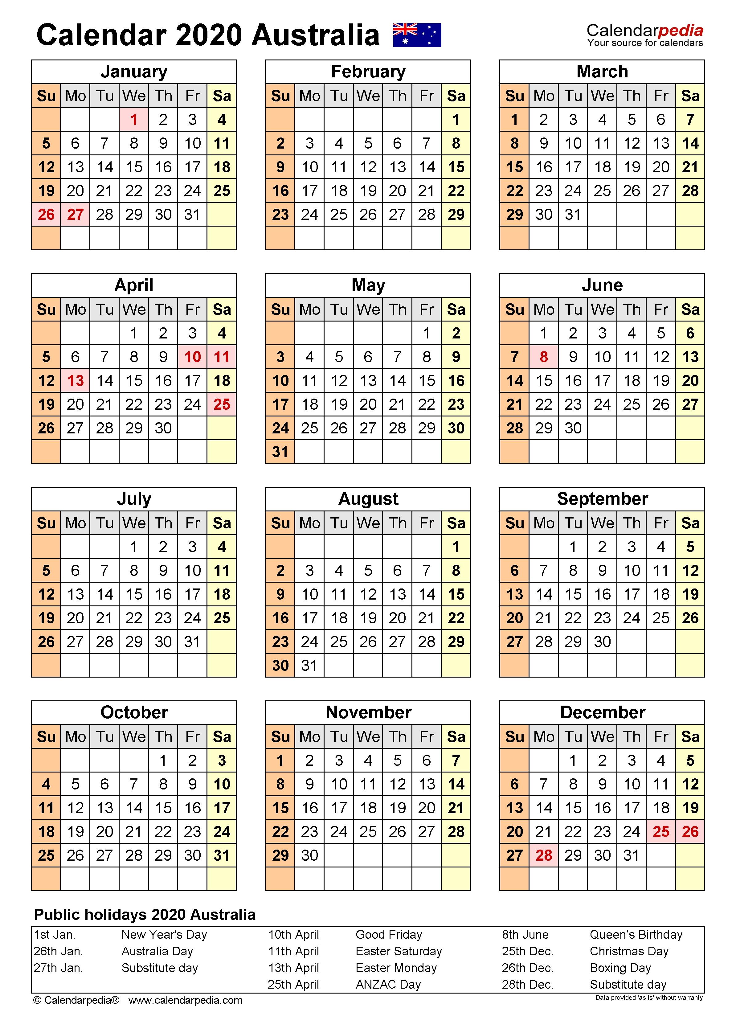 Australia Calendar 2020 - Free Printable Word Templates  Fy 18/19 Calendar Australia