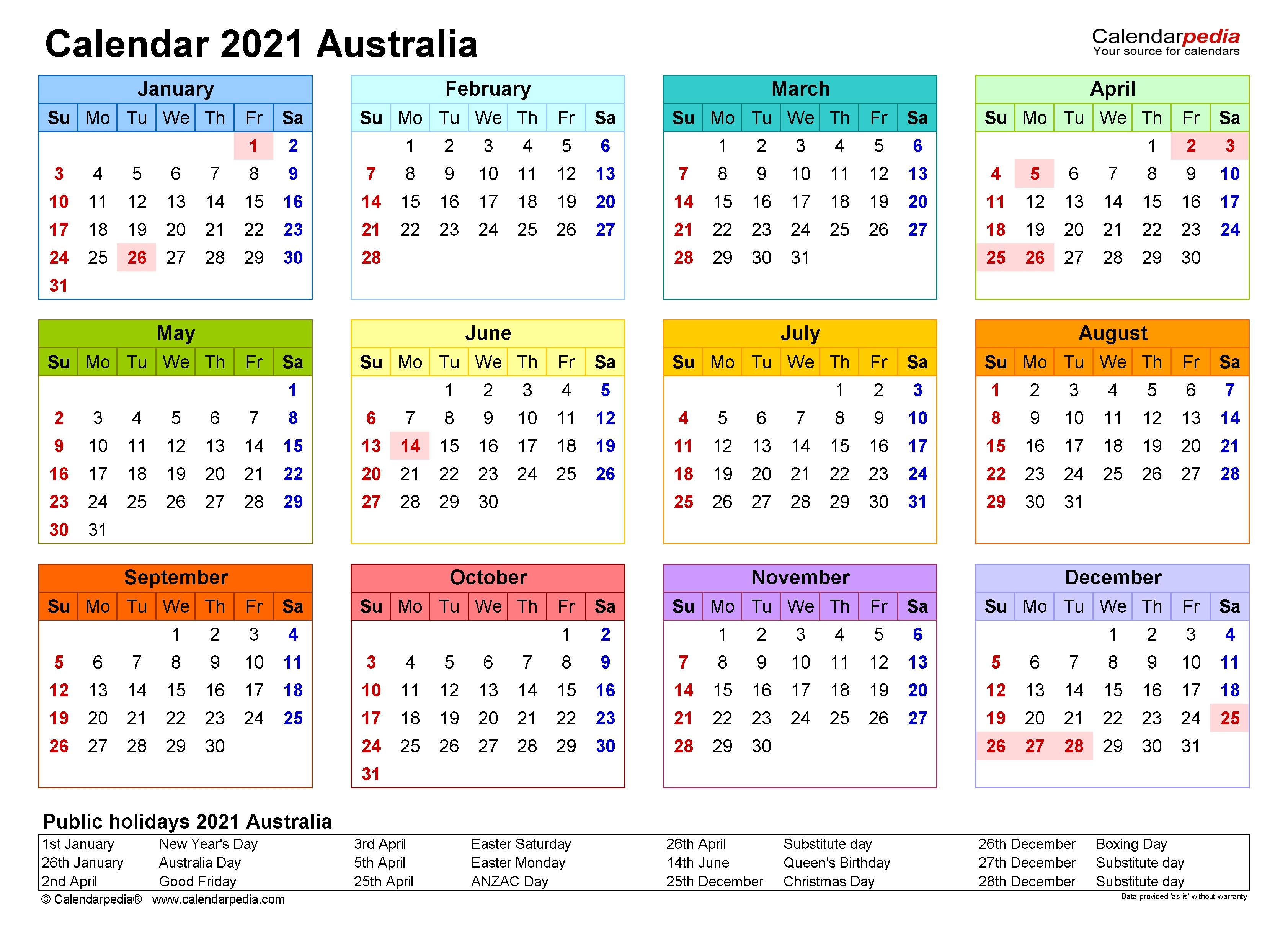 Australia Calendar 2021 - Free Printable Excel Templates  2021 Printable Calendar Free Full Page