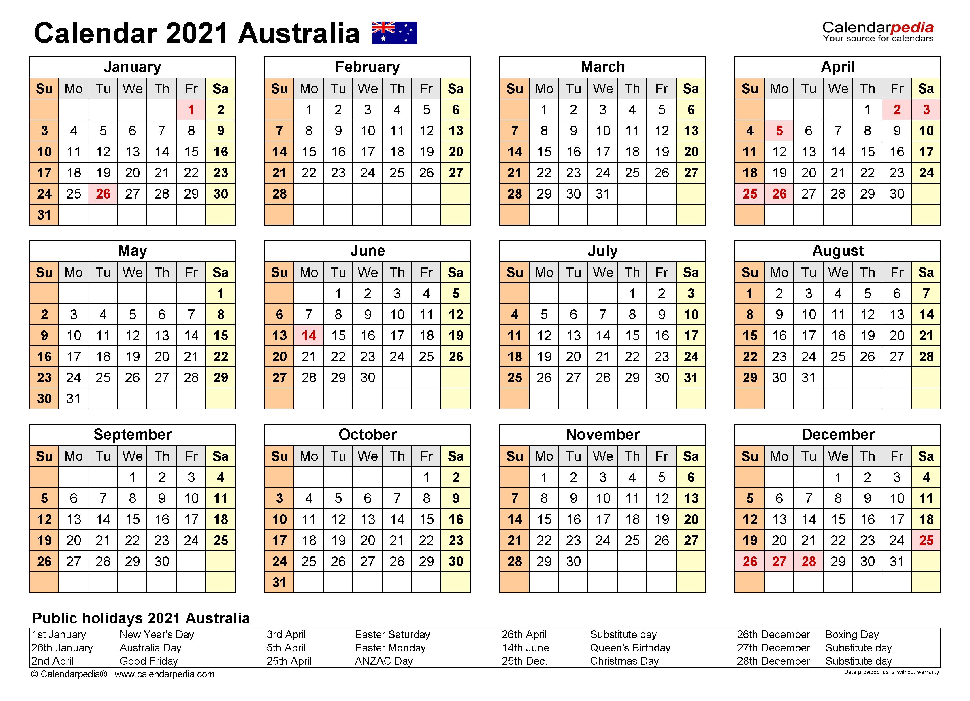 Australia Calendar 2021 - Free Printable Excel Templates  Fy 18/19 Calendar Australia