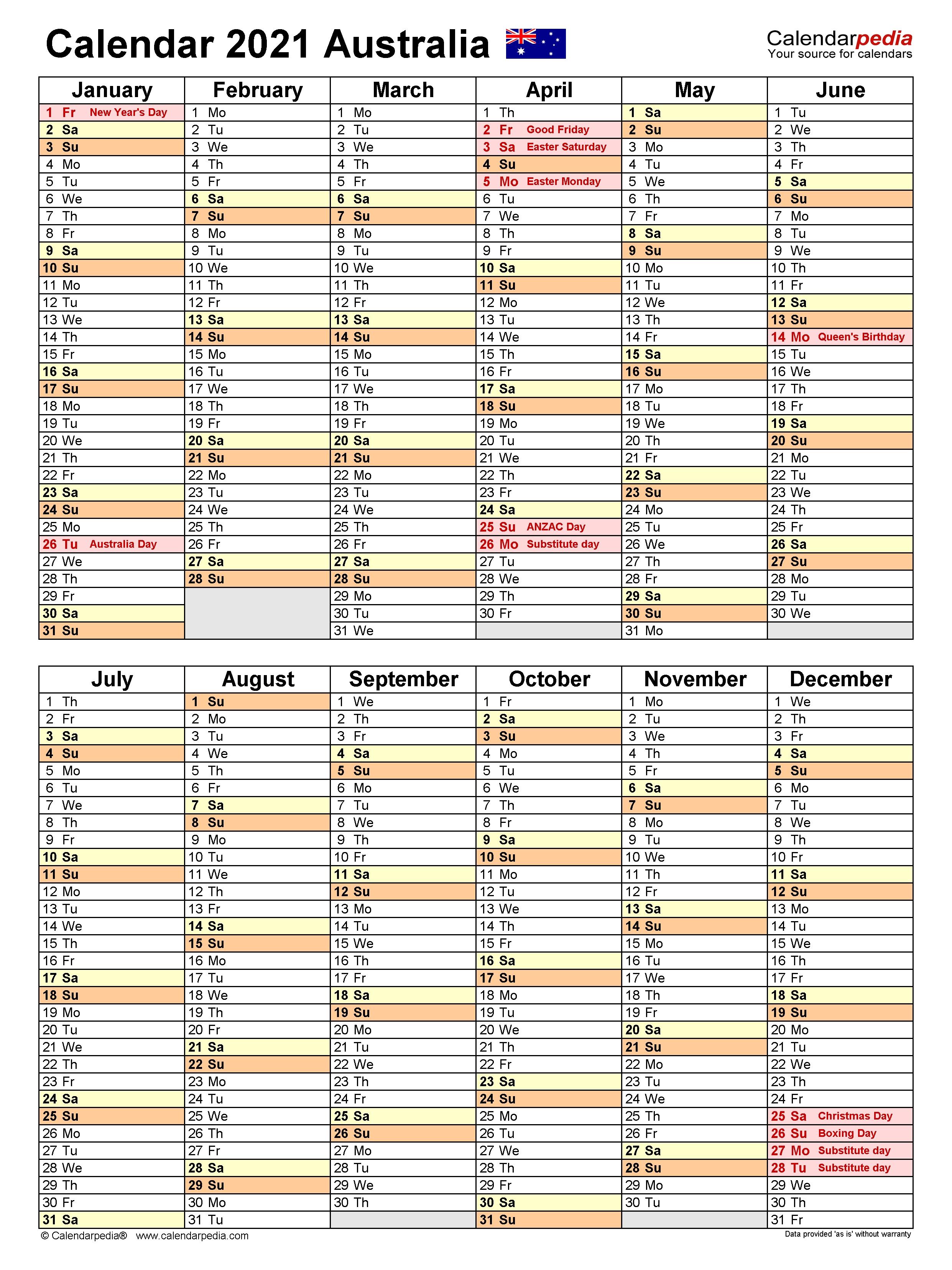 Australia Calendar 2021 - Free Printable Excel Templates  Fy 2021 Calendar Australia