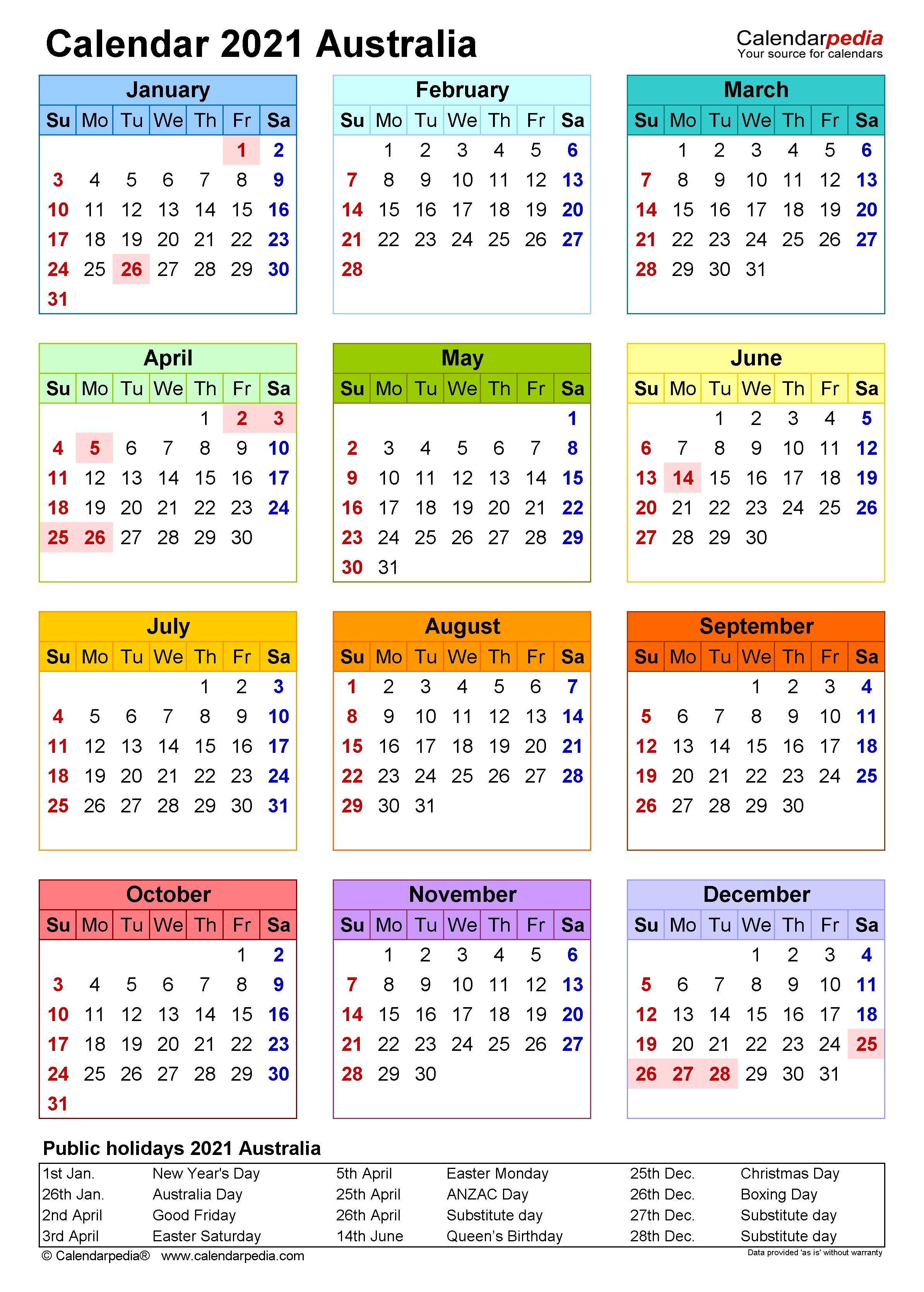 Australia Calendar 2021 - Free Printable Pdf Templates  2020 2021 Financial Calendar Australia