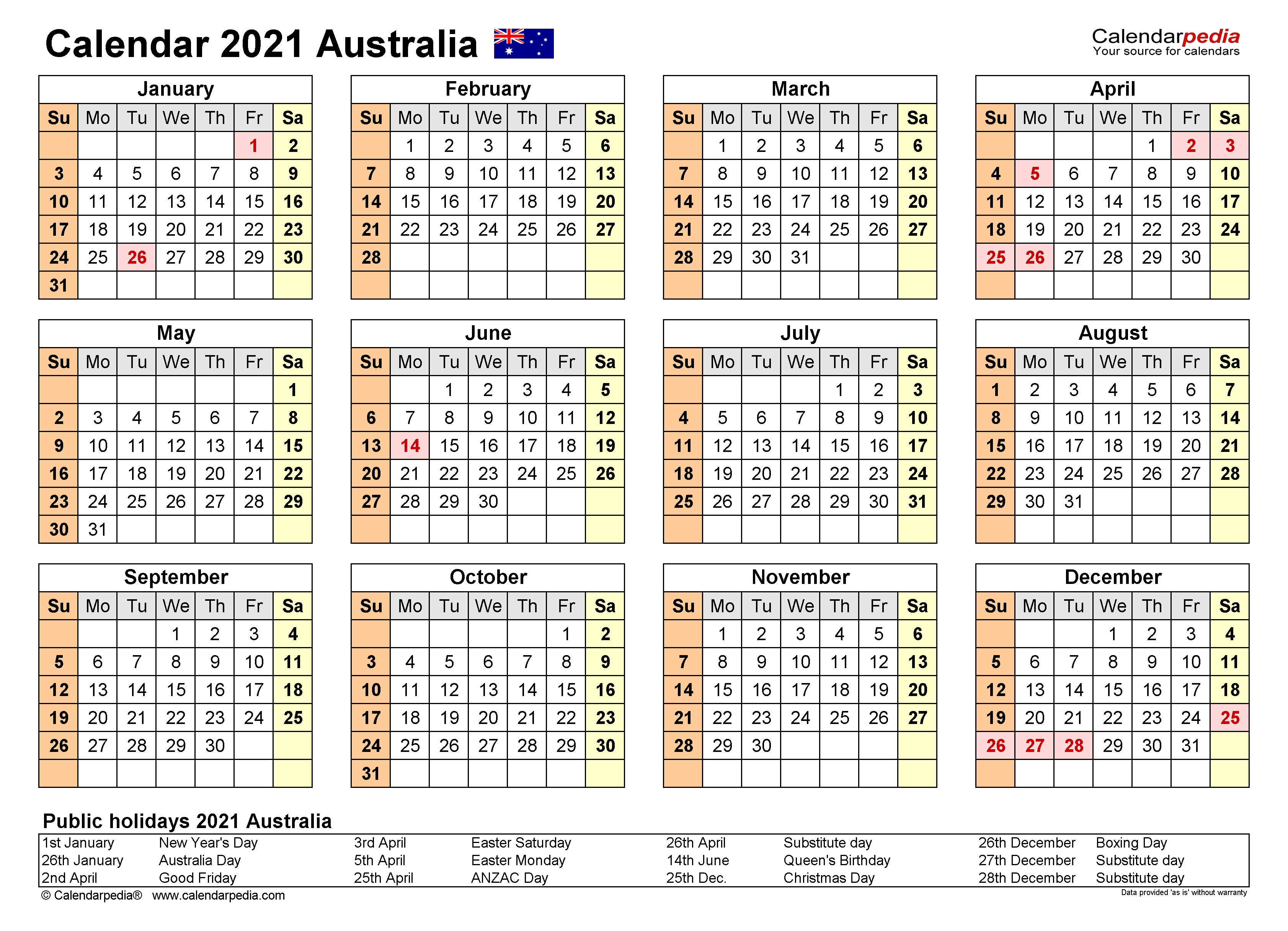 Australia Calendar 2021 - Free Printable Pdf Templates  Australian Financial Year