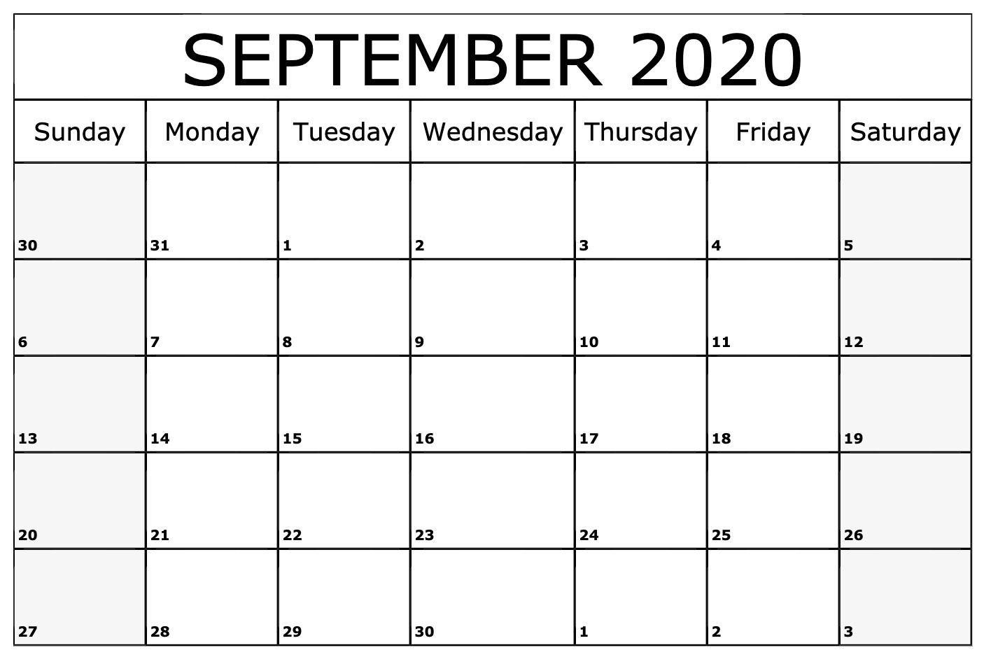 Awesome September 2020 Calendar Pdf, Word, Excel Printable  Free Online Calendars 2020 Printable