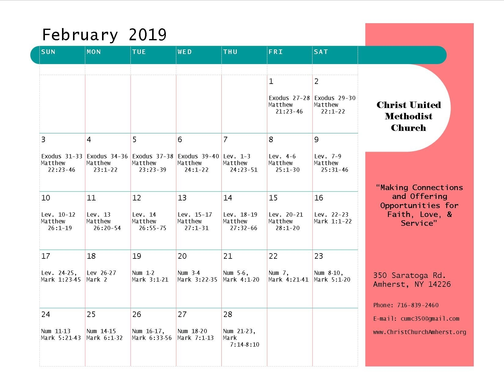 Bible-Reading Plan – Christ United Methodist Church  February United Methodist Calendar 2020