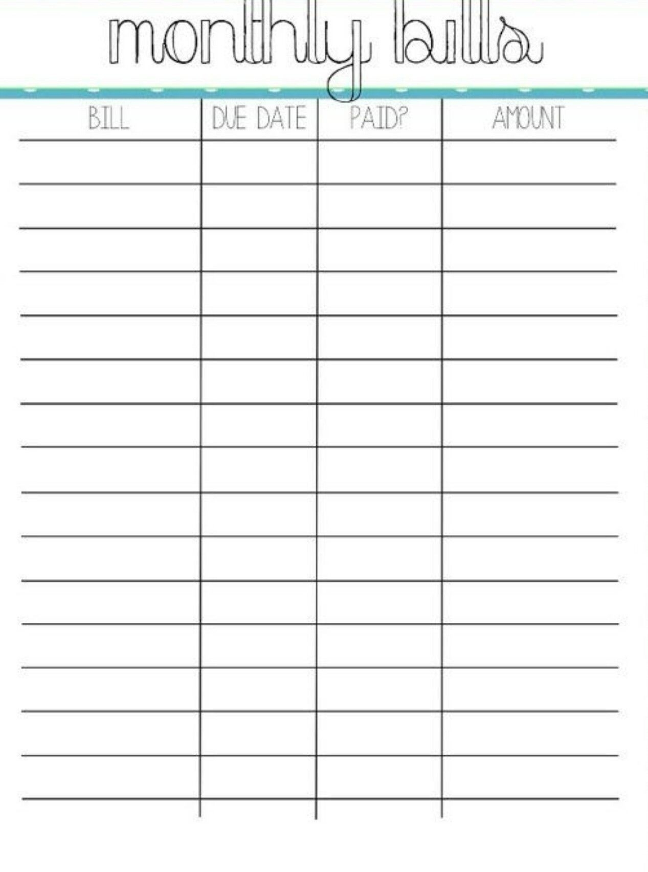 Bill Organizer Sheet - Akali  Printable Monthley Bills Sheet