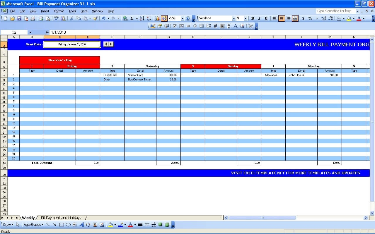 Bill Payment Calendar » Exceltemplate  Weekly Bill Paying Worksheet