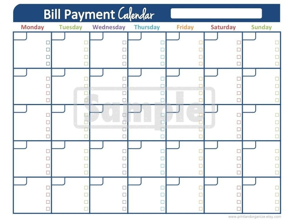 Bill Payment Calendar - Printables For Organizing Your  Printable Monthly Bill Calendar