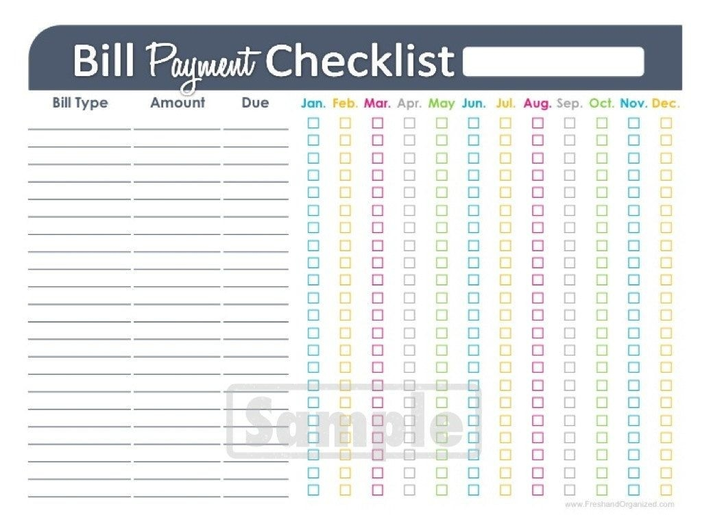 Bill Payment Checklist Printable - Fillable - Personal  Fillable Monthly Bill Payment Worksheet Pdf
