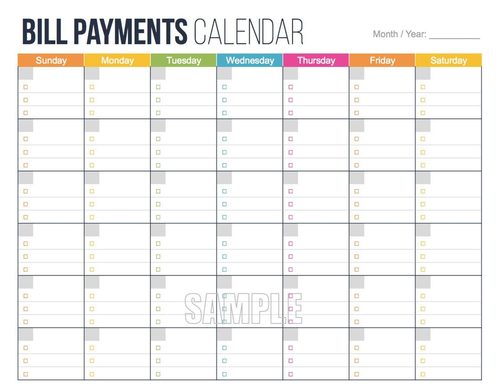 Bill Payments Calendar - Personal Finance Organizing  Monthly Payment Calendar Pdf