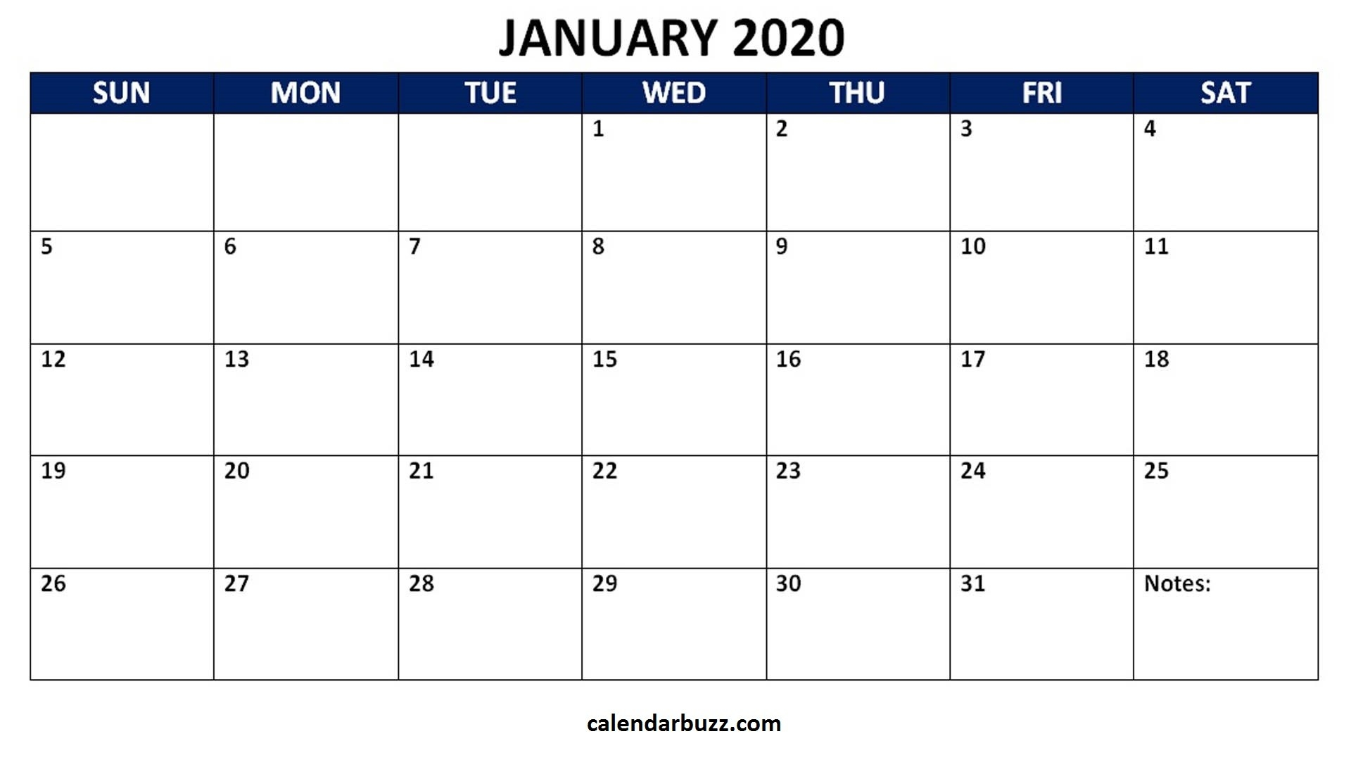Blank 2020 Calendar Printable Monthly Word Templates  Download 2020 Blank Calendar Printable
