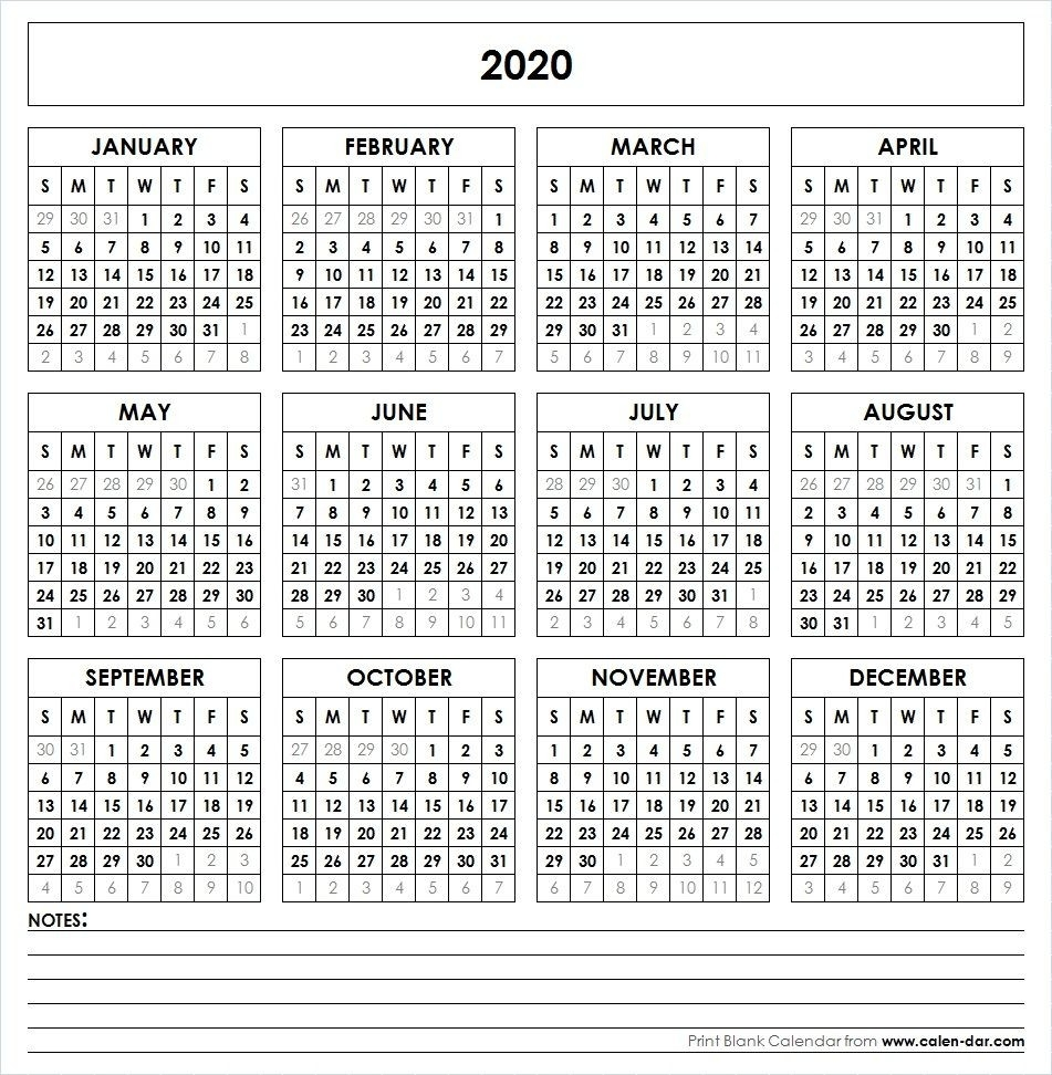 Blank 2020 Printable Calendar Template Pdf | Yearly Calendar  12 Month Calendar 2020 Printable Free