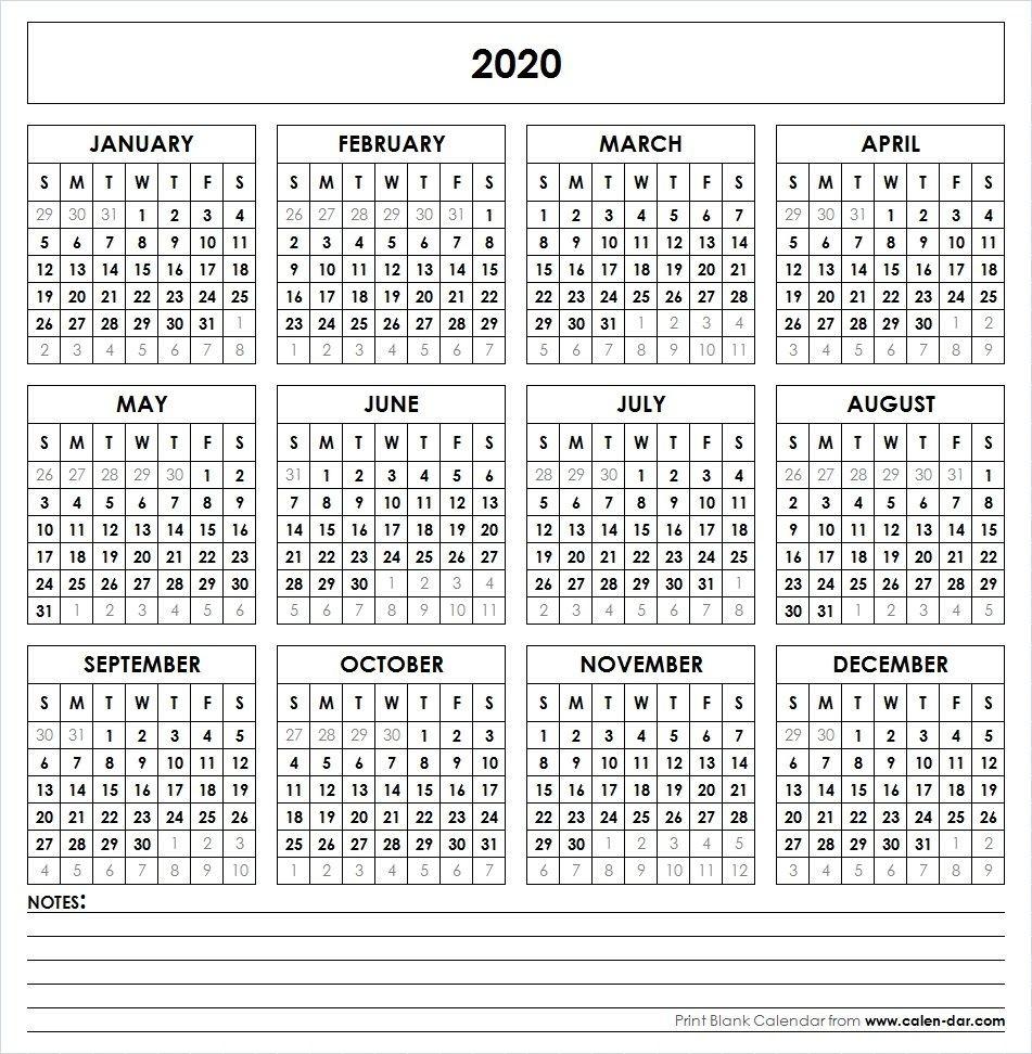 Blank 2020 Printable Calendar Template Pdf | Yearly Calendar  Yearly Calendars 2020