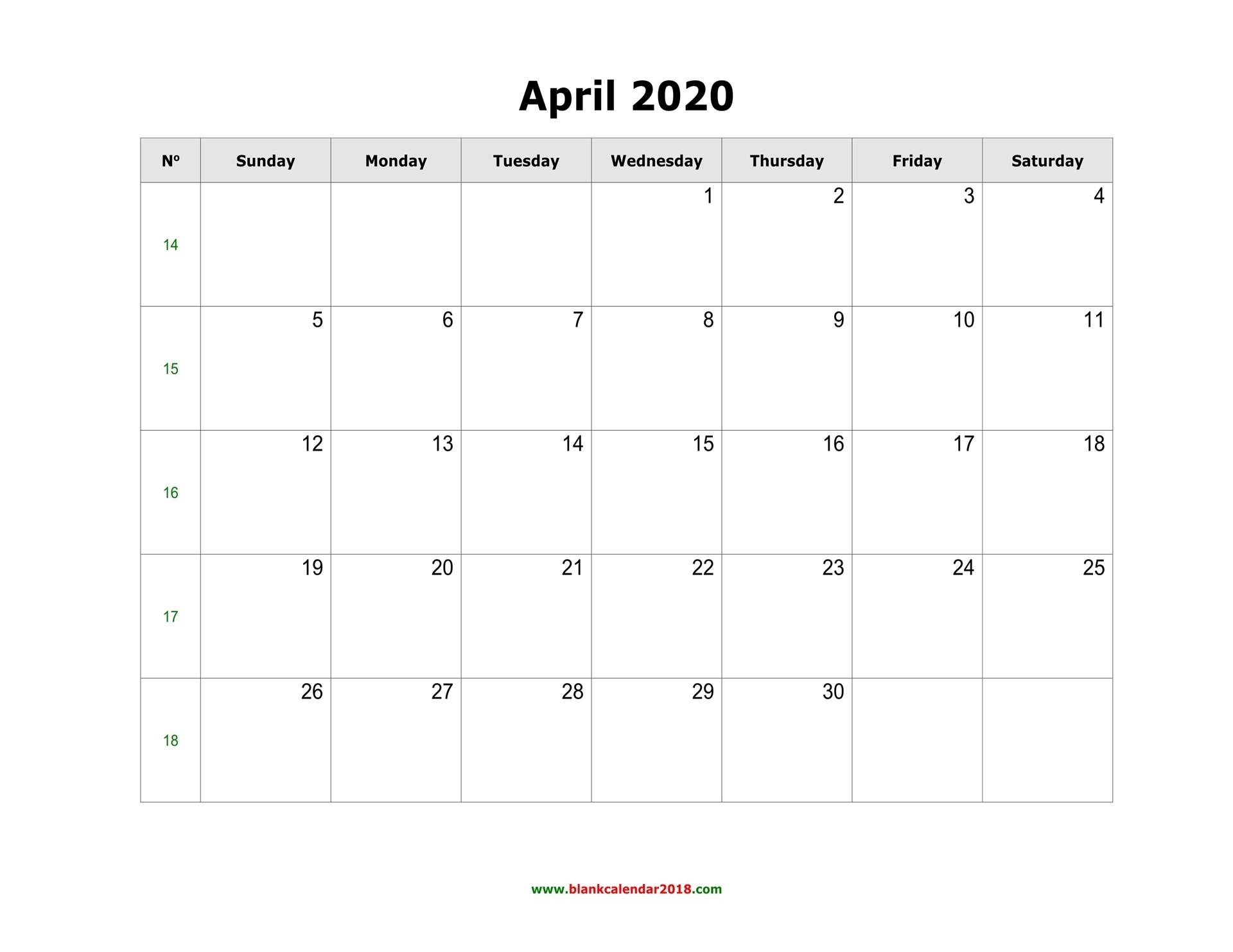 Blank Calendar For April 2020  Large Block April 2020 Calendar