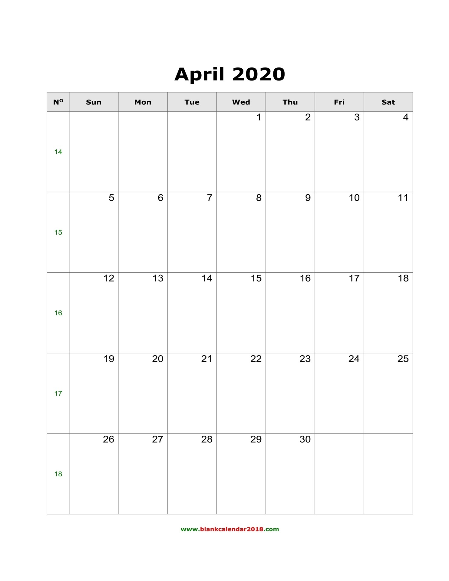 Blank Calendar For April 2020  Large Block April 2020 Calendar