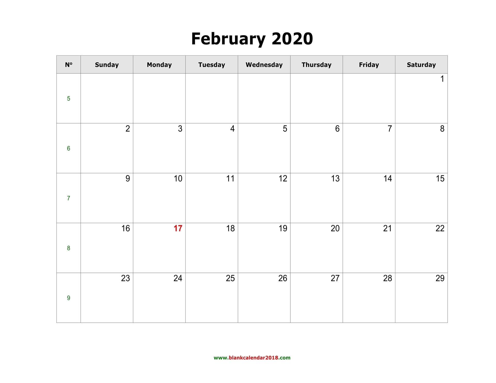 Blank Calendar For February 2020  February Blank Calendar Printable