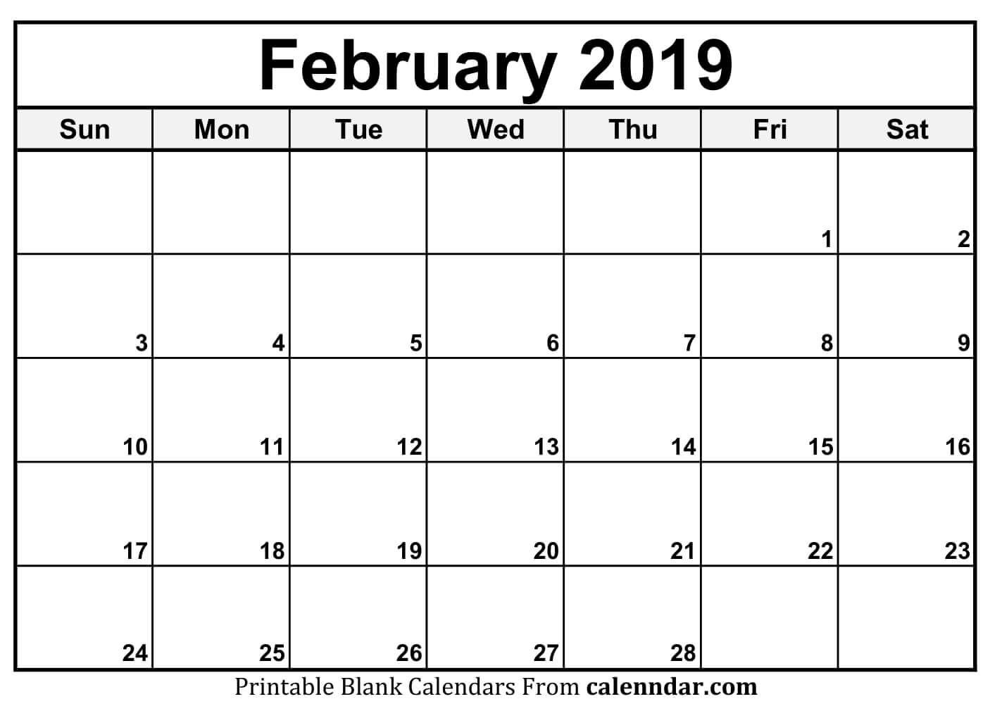 Blank Feb 2020 Calendar Printable Template With Holidays  February Blank Calendar Printable