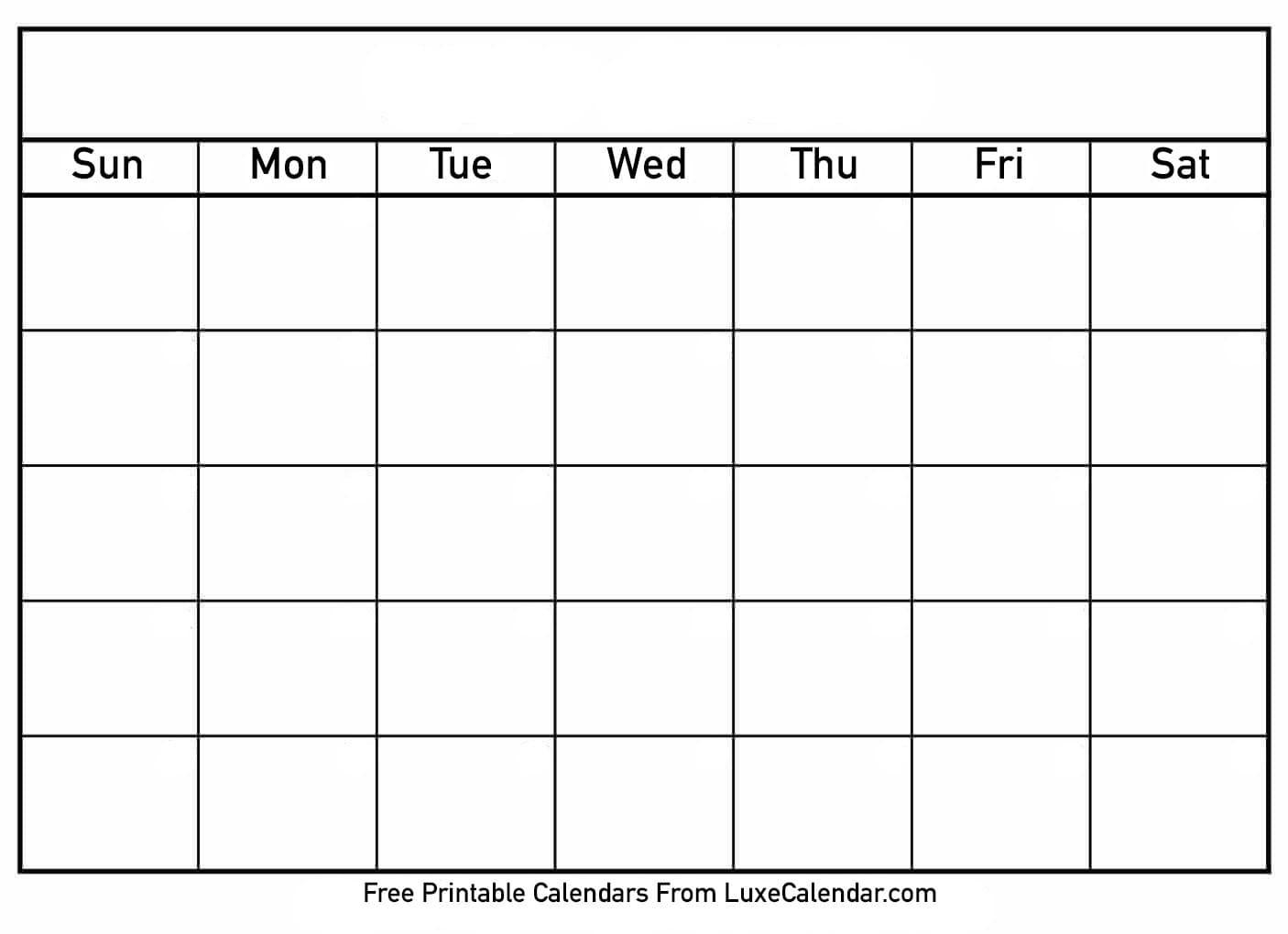 Blank Full Page Calendar - Menom  Free Printable Calendar Templates
