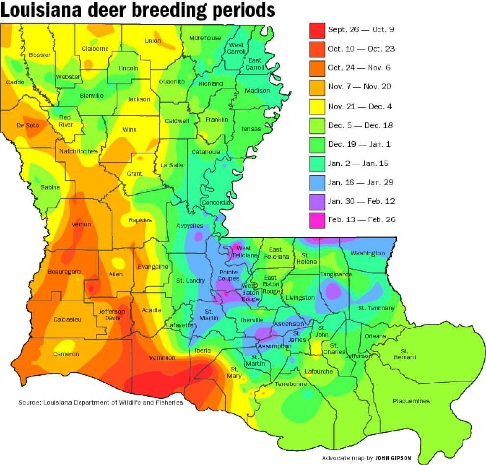 Buck Breeding Calendar Most Complete Ever | Louisiana  Whitetail Rut Calendar 2020