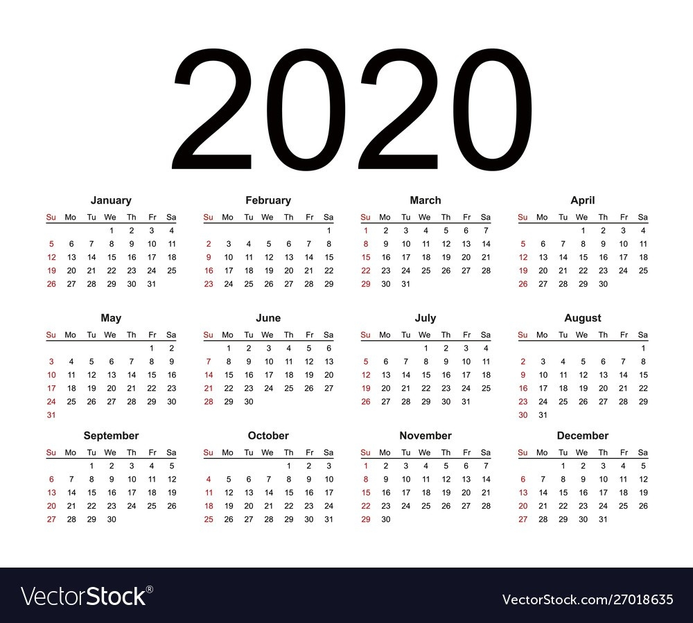 Calendar 2020 Year Simple Style  2020 Calendar Simple