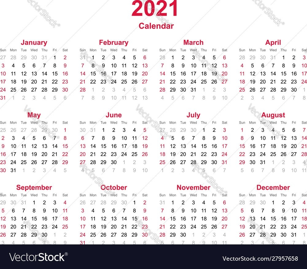 Calendar 2021 - 12 Months Yearly Calendar  July 2021 12 Months