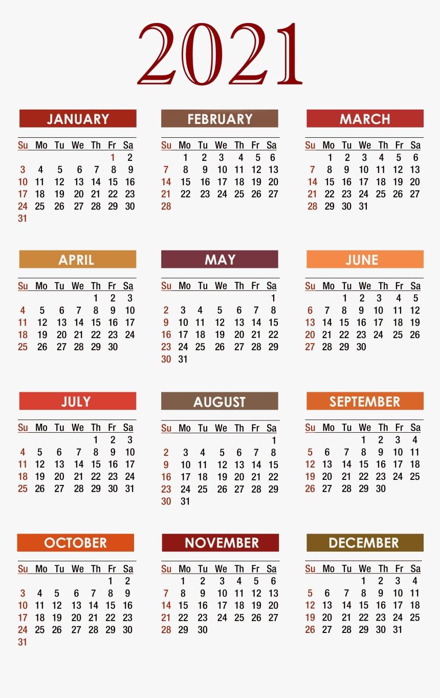 Calendar 2021 Png Free Download - Free Printable 2020  Print Pocket 2021 Calendar Free
