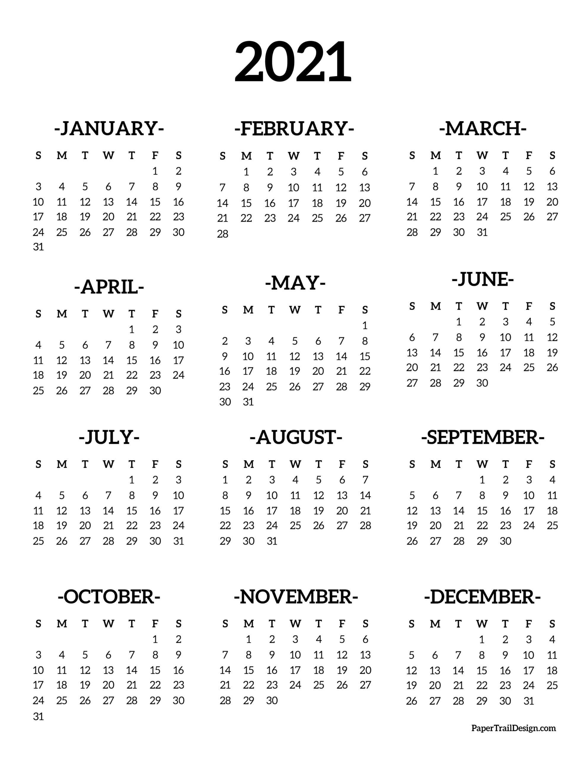 Calendar 2021 Printable One Page - Paper Trail Design  2021 Calendar Printable One Page