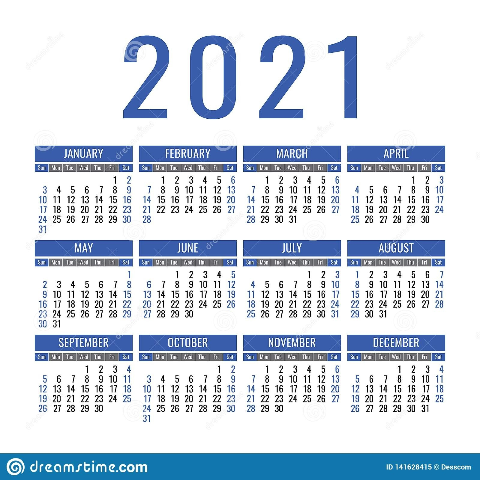 Calendar 2021 Year. Vector Pocket Or Wall Calender Template  Print Pocket 2021 Calendar Free