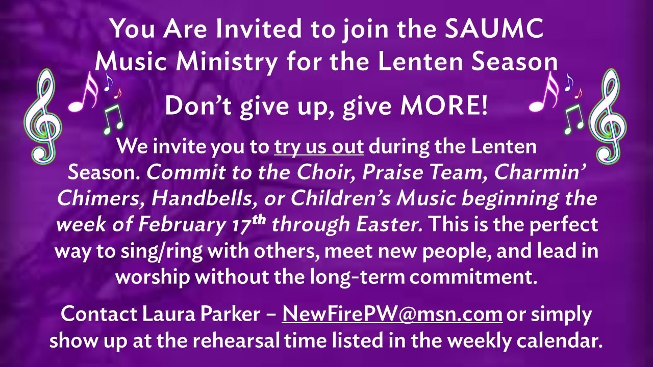 Calendar And Announcements – St. Andrew's United Methodist  Lent 2020 Calendar Date Umc