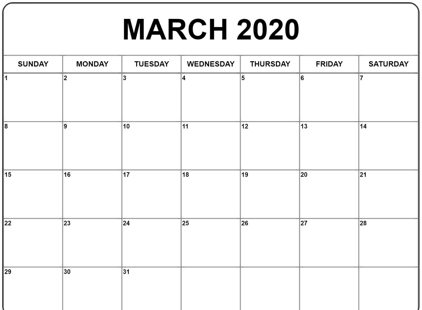 Calendar March 2020 – Blank Printable Template Free Download  Download 2020 Blank Calendar Printable