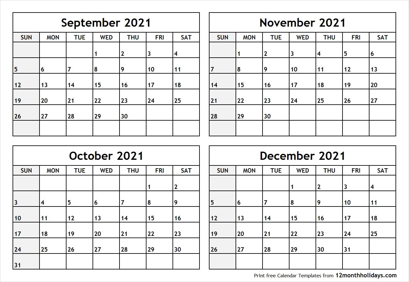 Calendar-September-To-December-2021-Printable - All 12 Month  Calendar October November December 2021