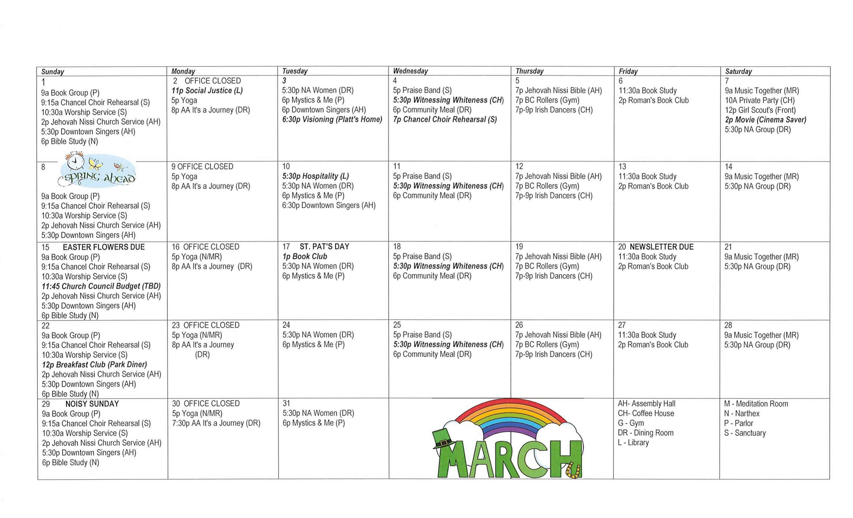 Calendar – Tabernacle United Methodist Church  United Methodist Church 2020 Calendar