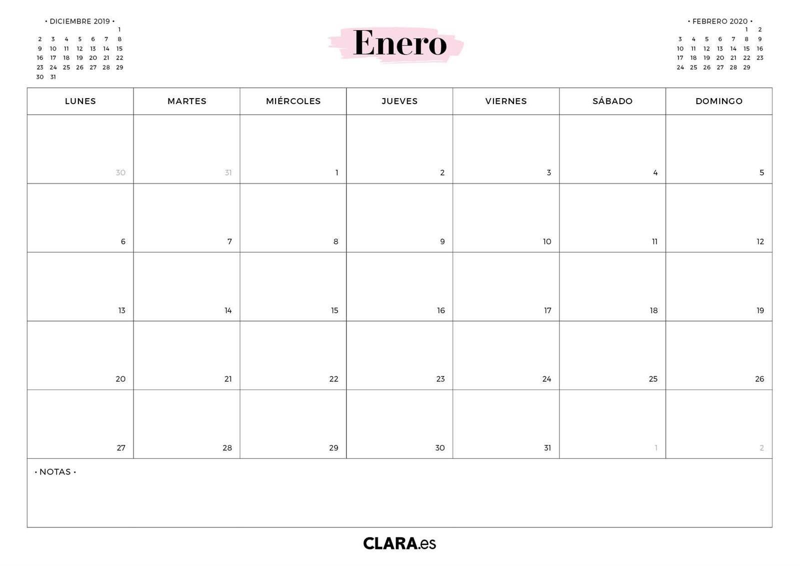 Calendario 2020 Para Imprimir Gratis (En Pdf Y Jpg)  Calendario 2020 Mensual Para Imprimir Gratis Febrero
