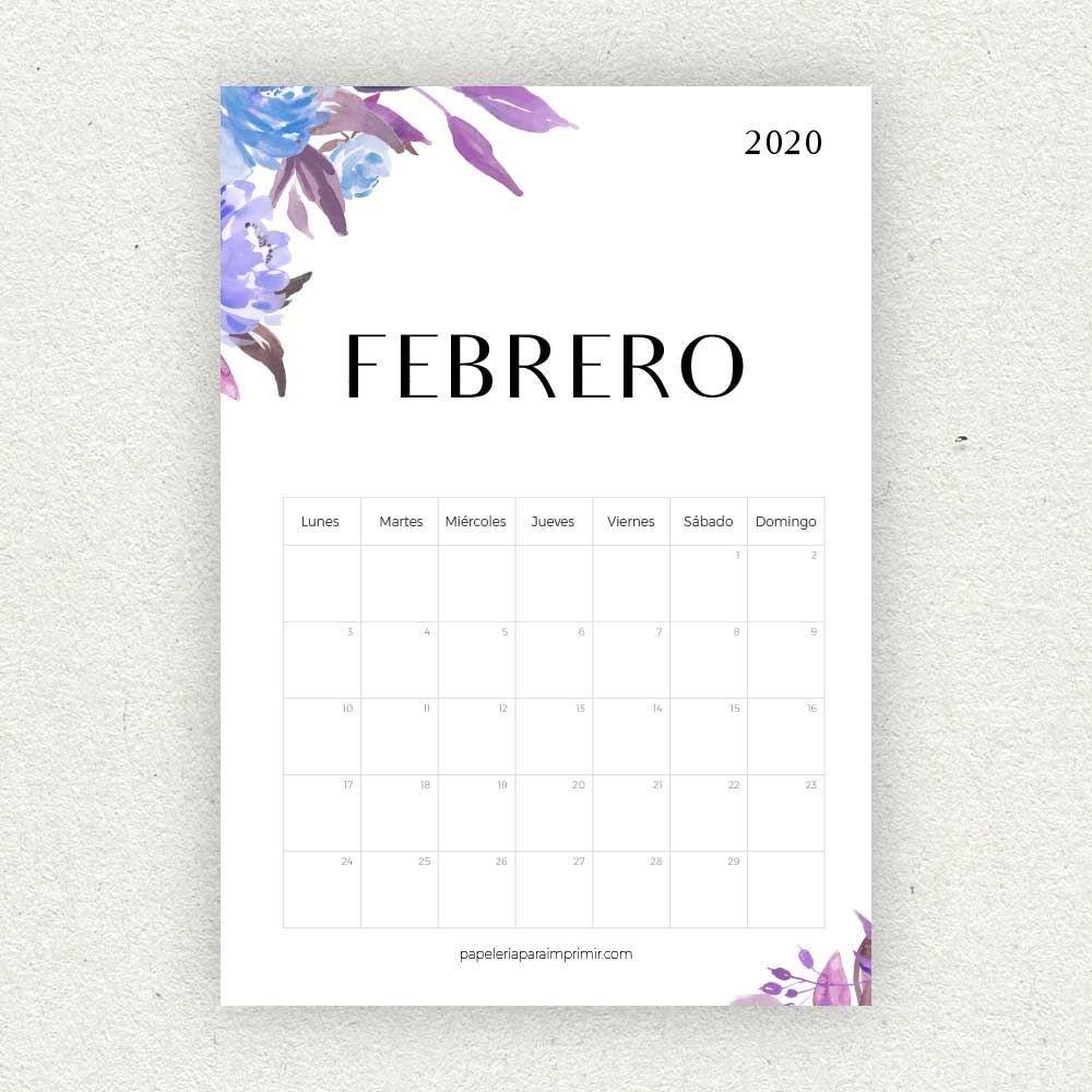 Calendario Para Imprimir 2020 | Calendario Para Imprimir  Calendario 2020 Mensual Para Imprimir Gratis Febrero