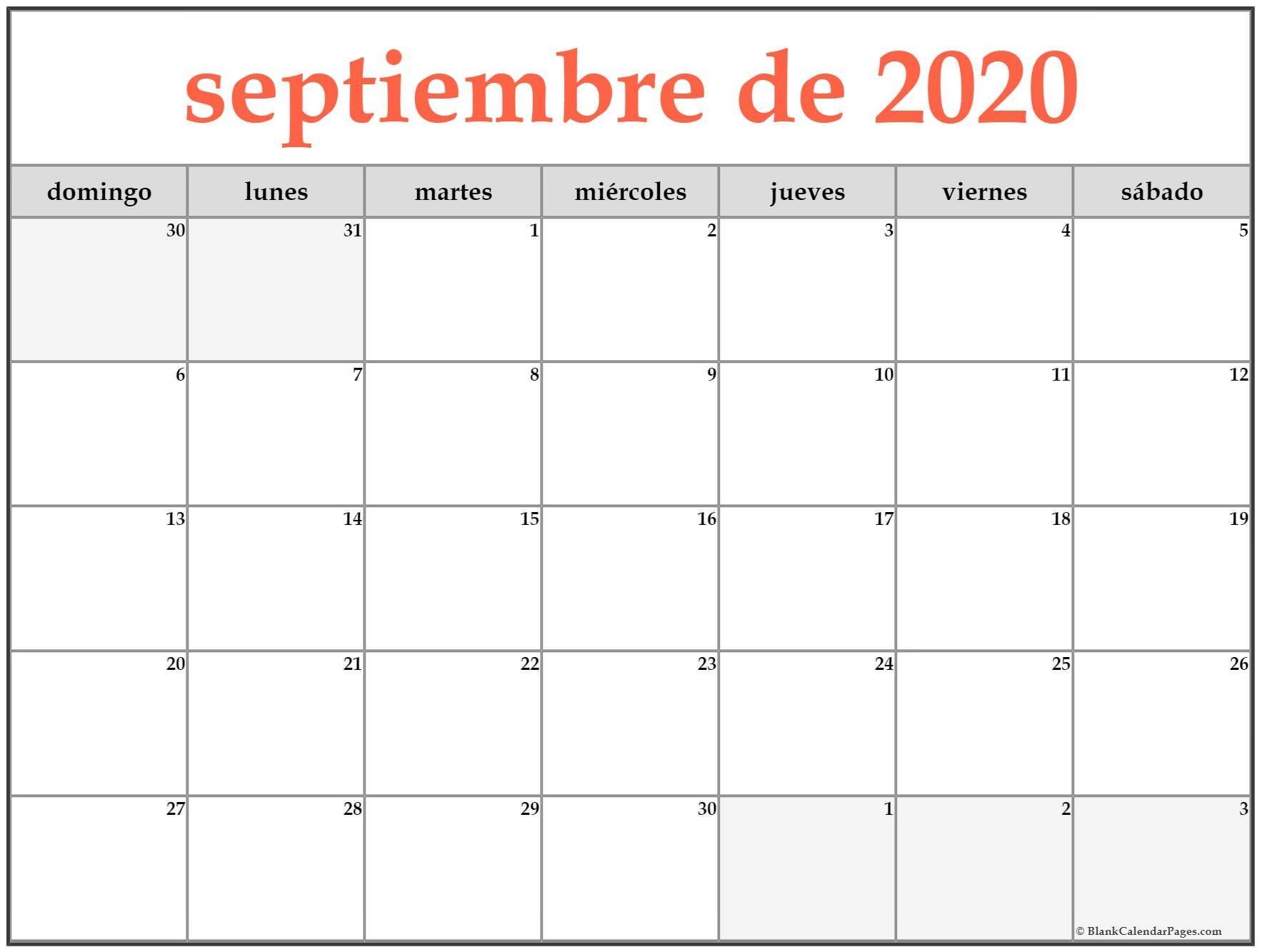 Calendario Septiembre 2020 Para Imprimir - Mangan  Calendario 2020 Mensual Para Imprimir Gratis Febrero