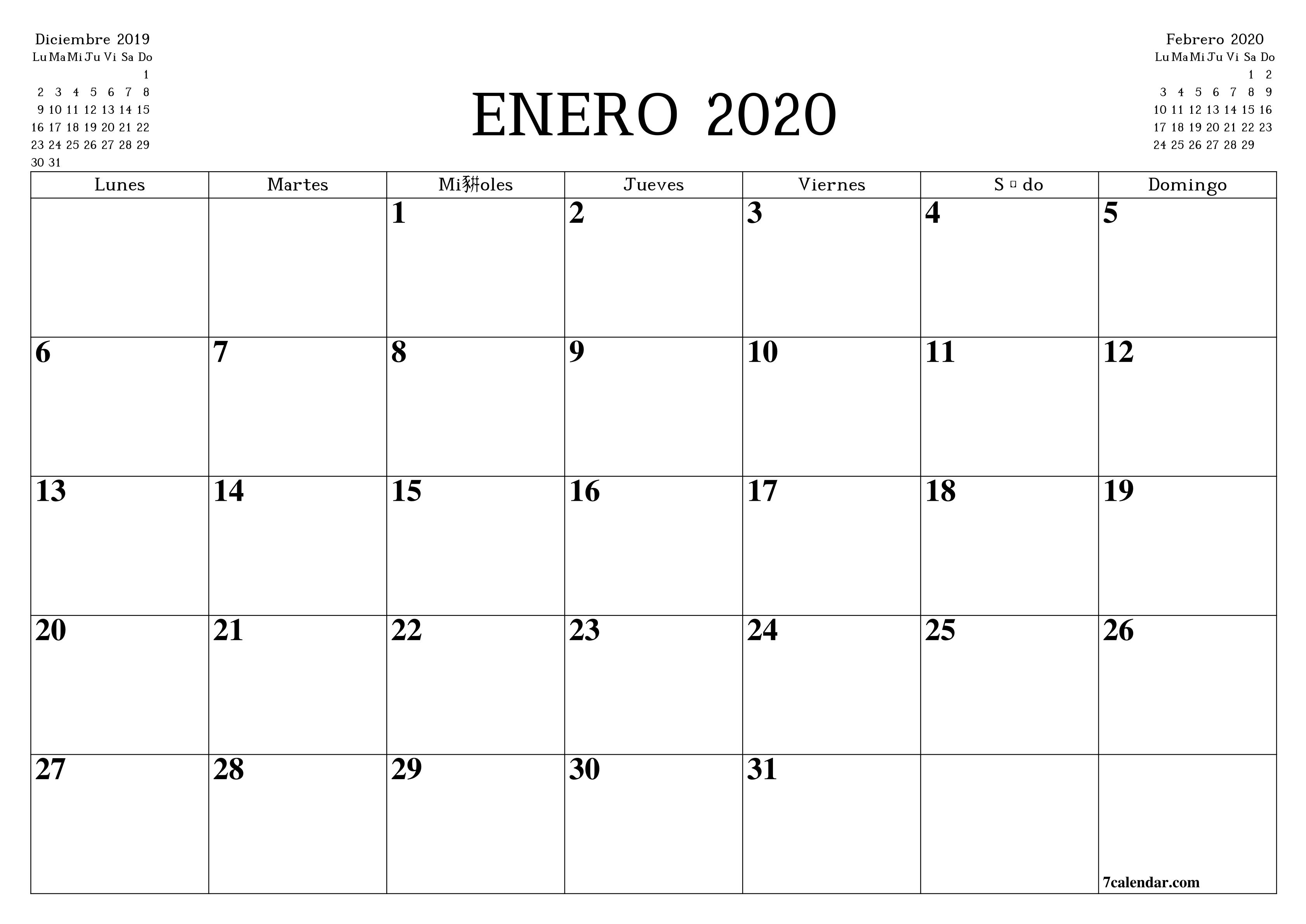 Calendario Y Planificador Mensual En Blanco Para Imprimir  Calendario 2020 Mensual Para Imprimir Gratis Febrero