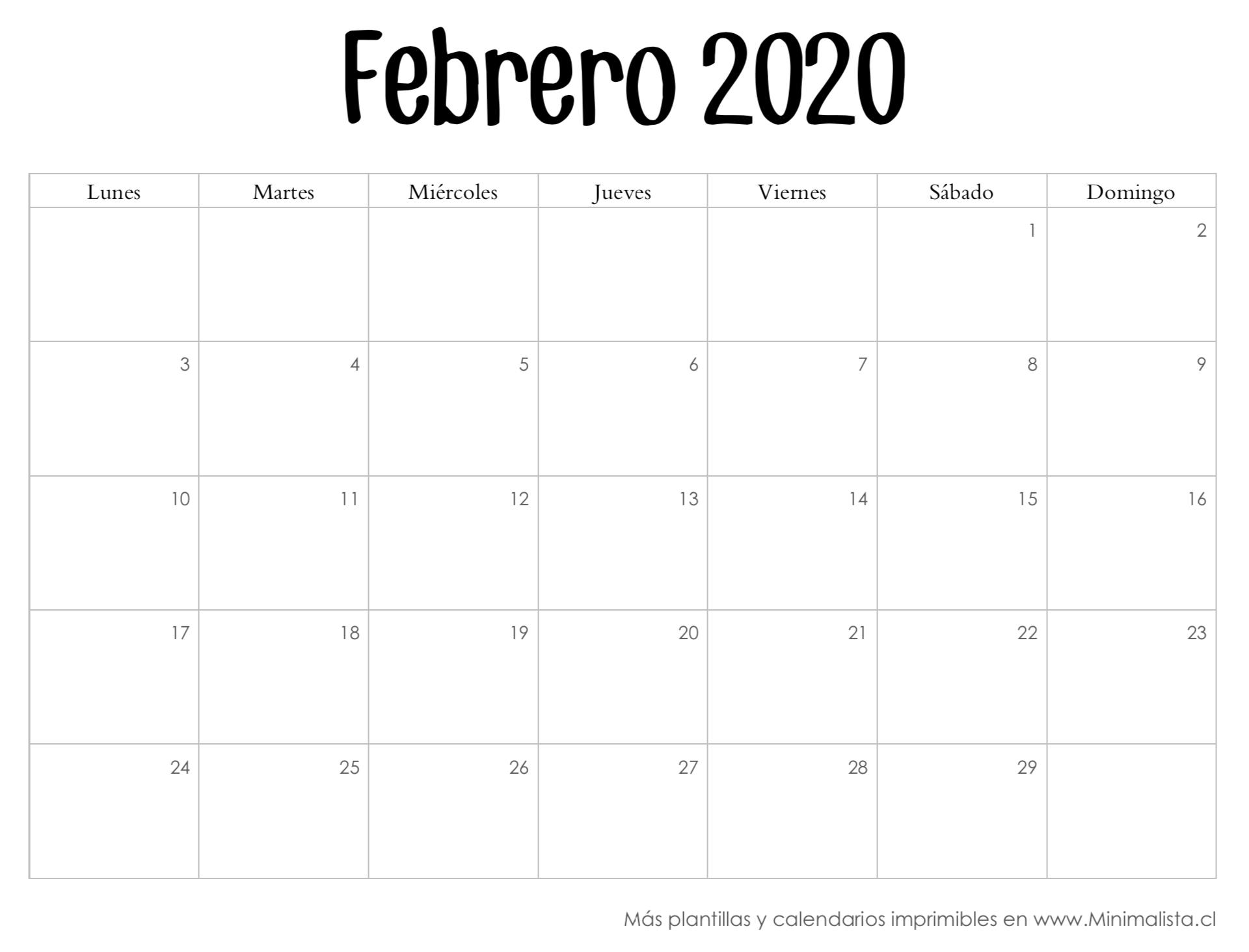 Calendarios 2020 Para Imprmir En 2020 | Calendario  Calendario 2020 Mensual Para Imprimir Gratis Febrero