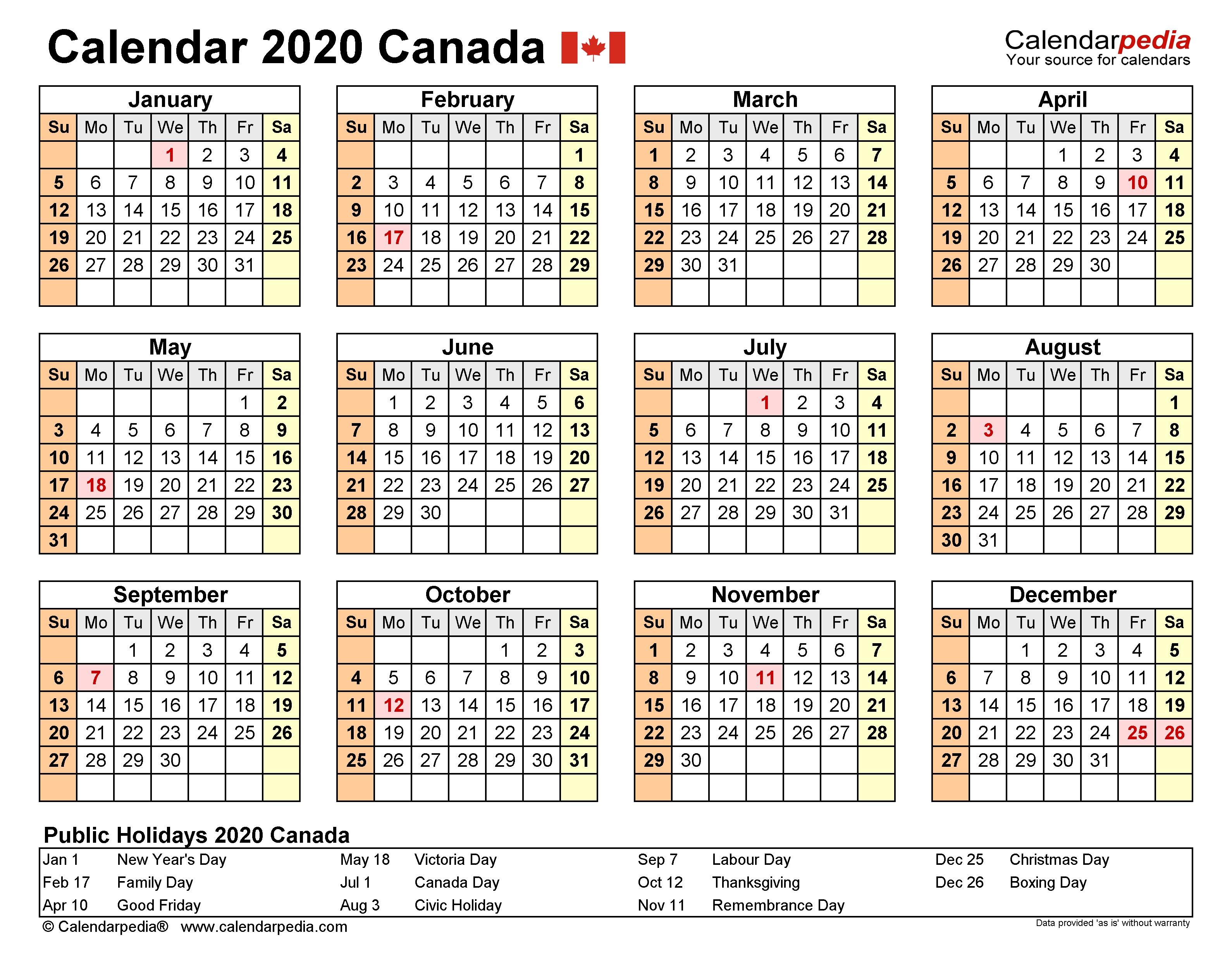 Canada Calendar 2020 - Free Printable Word Templates  2020 Calendar Printable Calendarpedia
