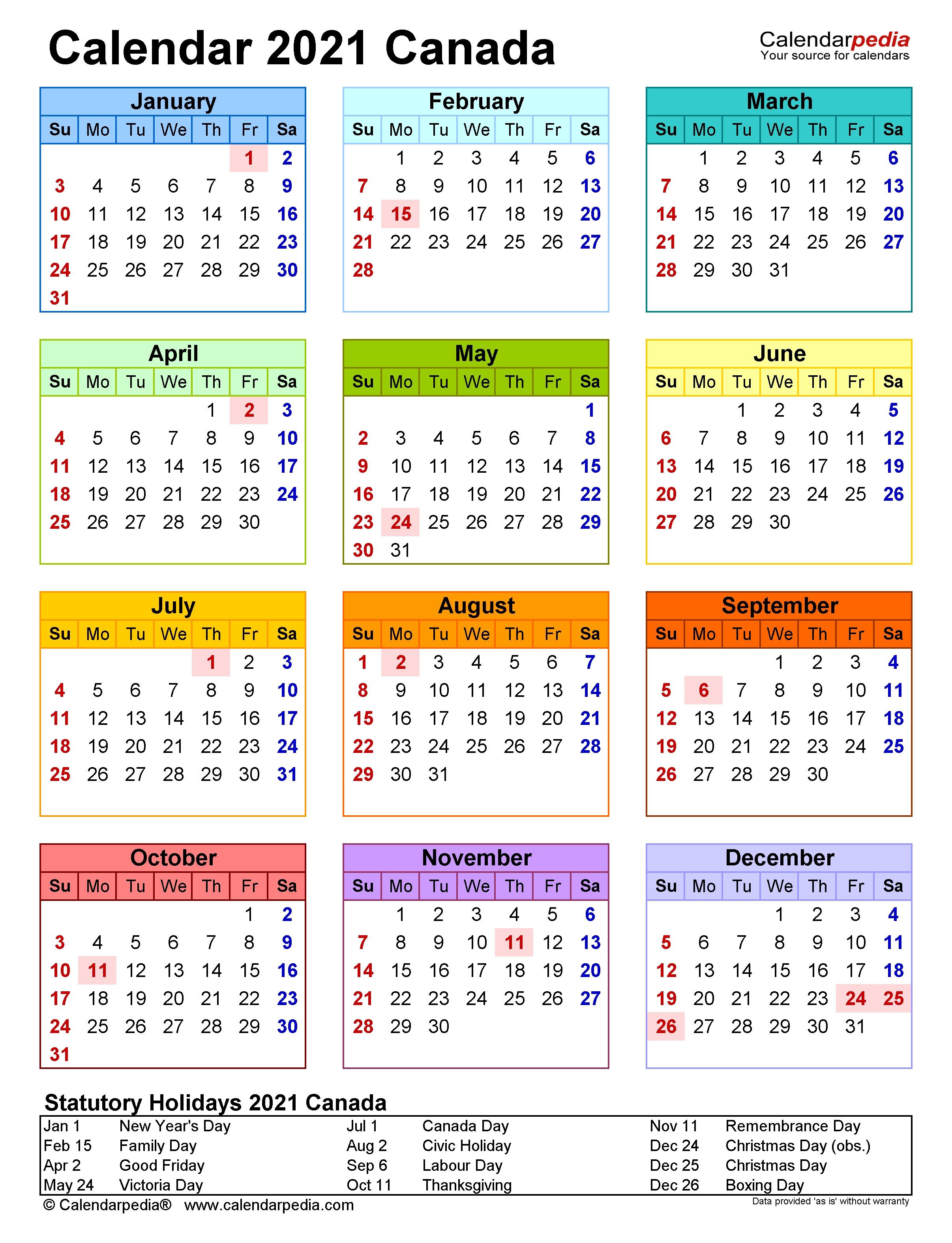 Canada Calendar 2021 - Free Printable Excel Templates  2021 Attendance Calendar Printable Pdf