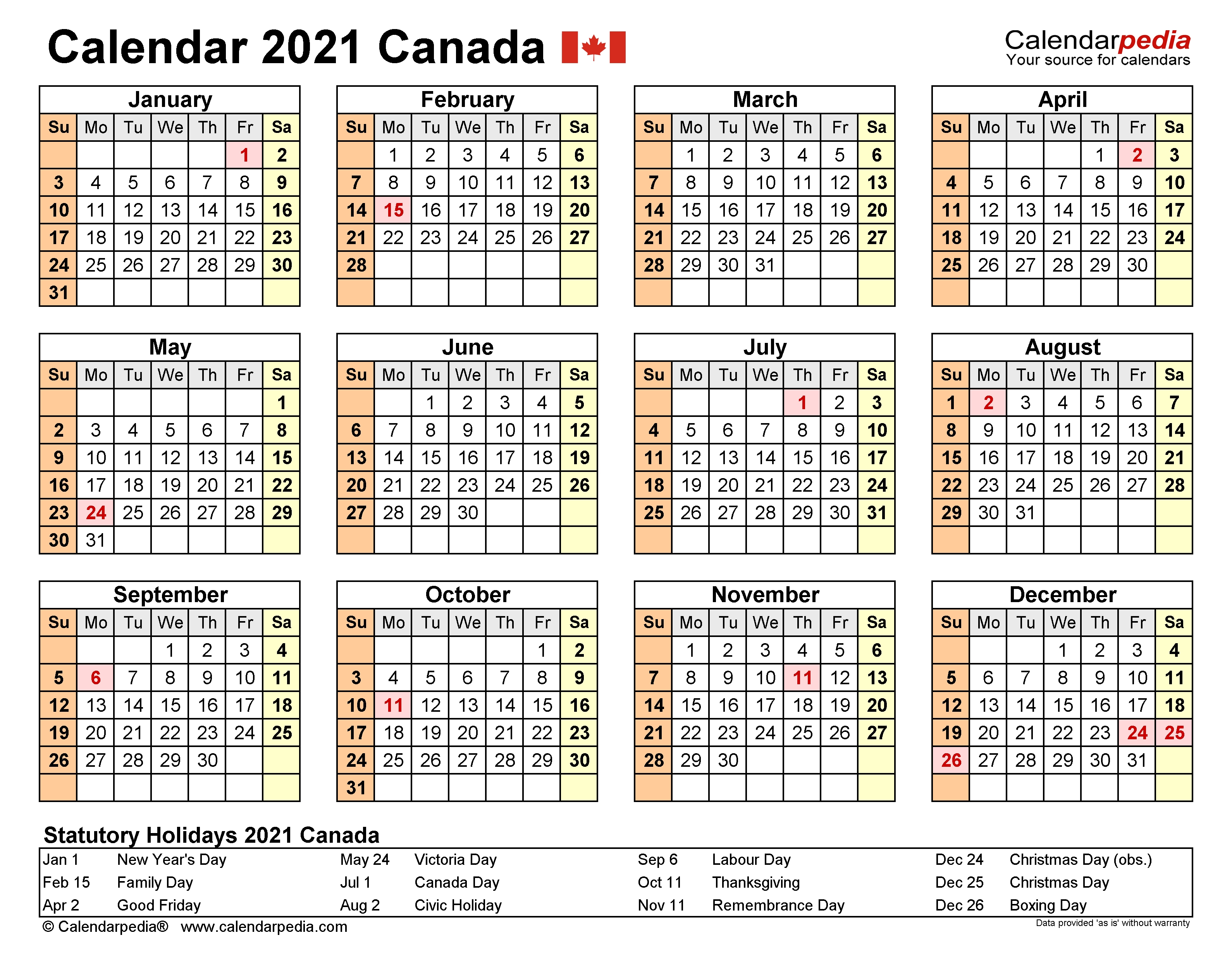Canada Calendar 2021 - Free Printable Excel Templates  2021 Financial Year Calendar