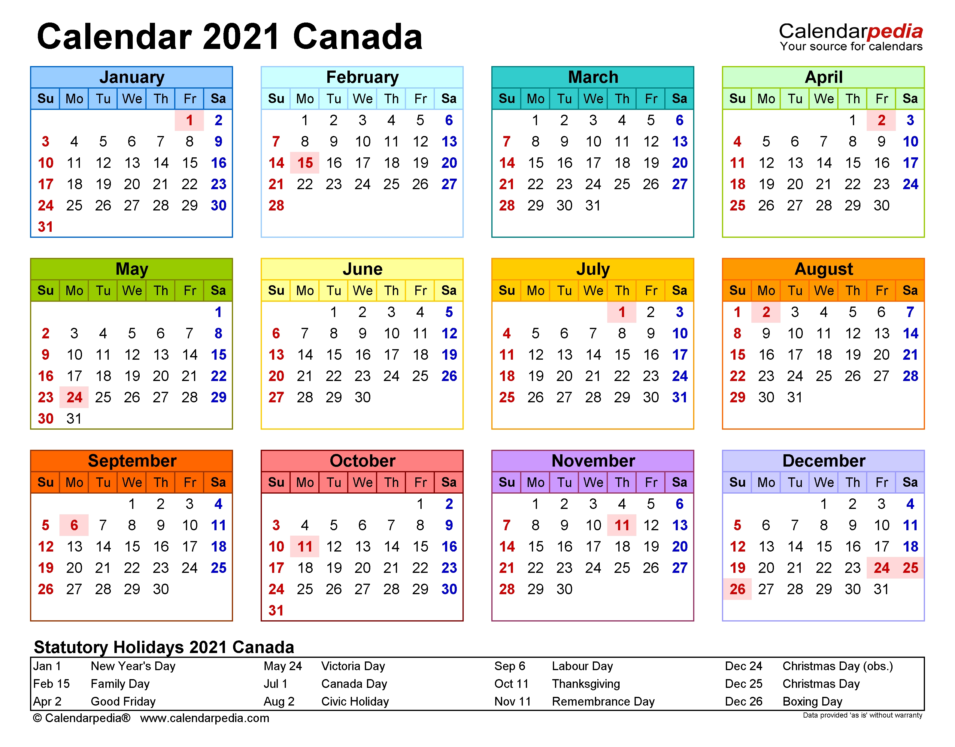 Canada Calendar 2021 - Free Printable Excel Templates  2021 Printable Free Attendance Tracker