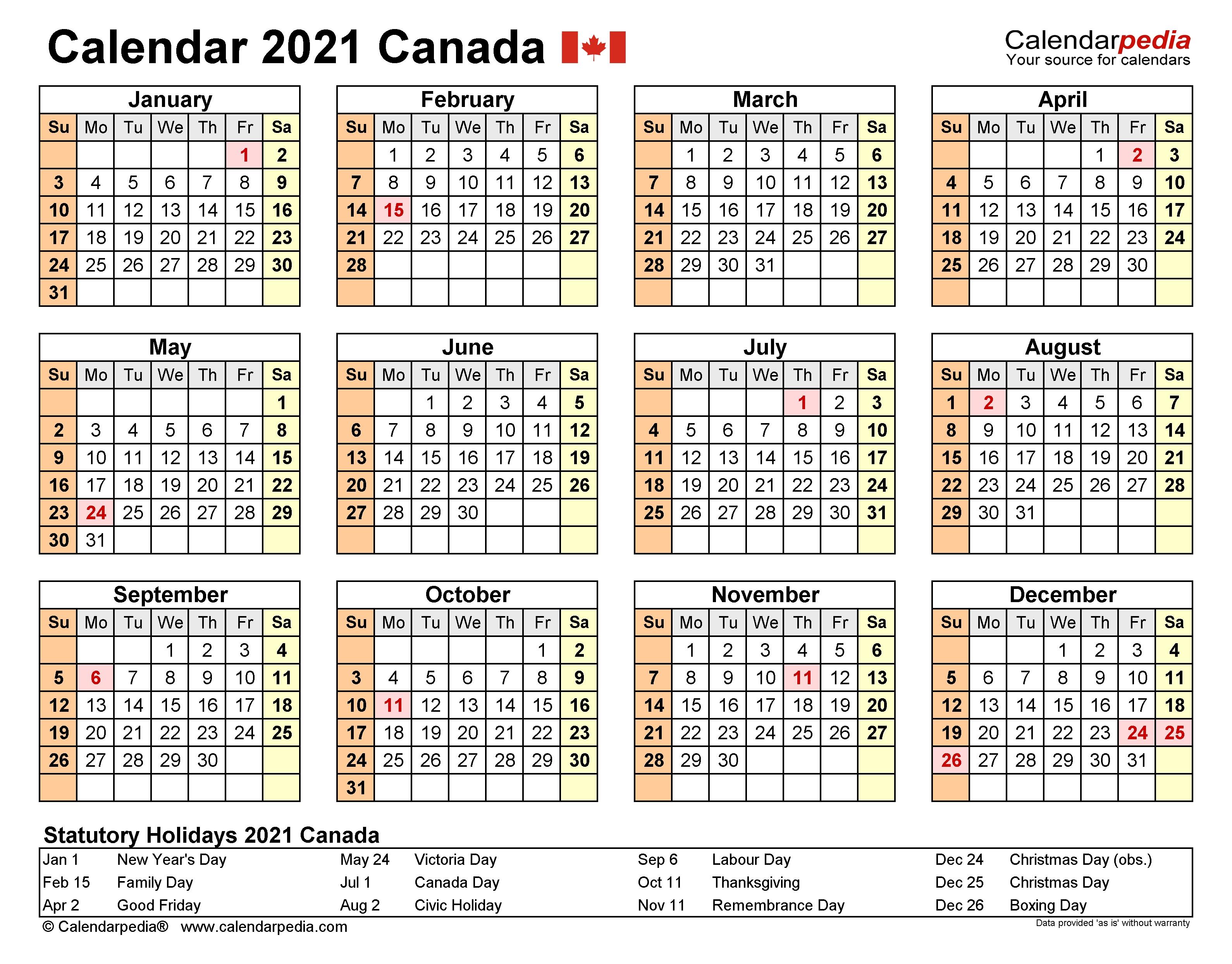 Canada Calendar 2021 - Free Printable Excel Templates  Financial Year 2021