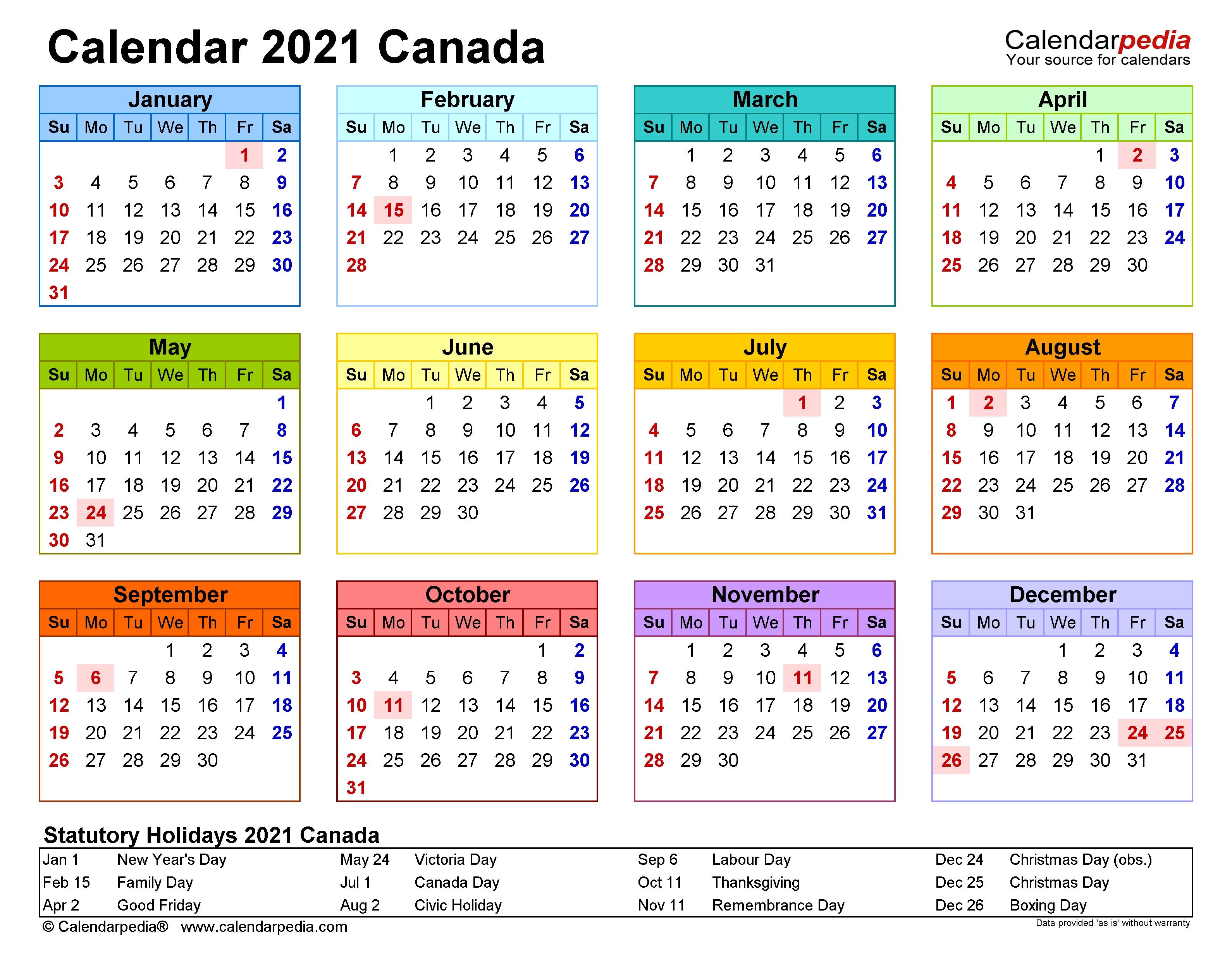 Canada Calendar 2021 - Free Printable Excel Templates  Print Pocket 2021 Calendar Free